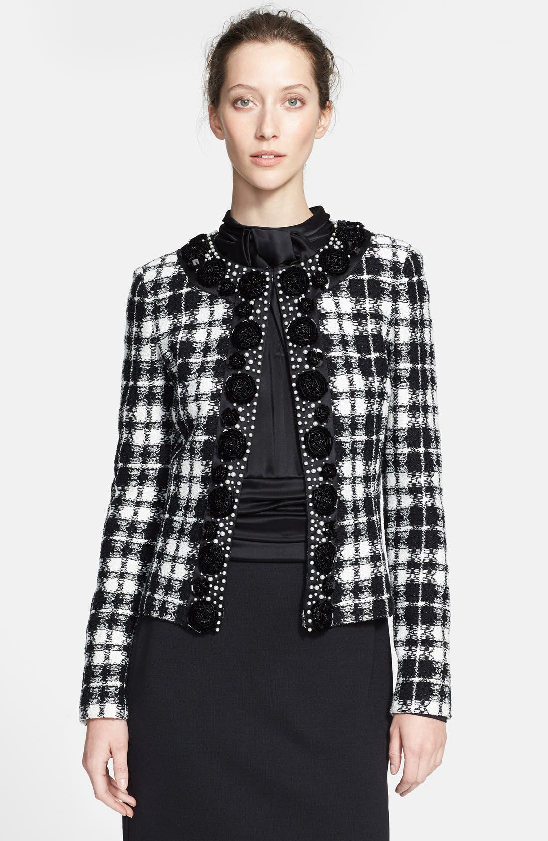 Main Image - St. John Collection Plaid Knit Tailored Jacket