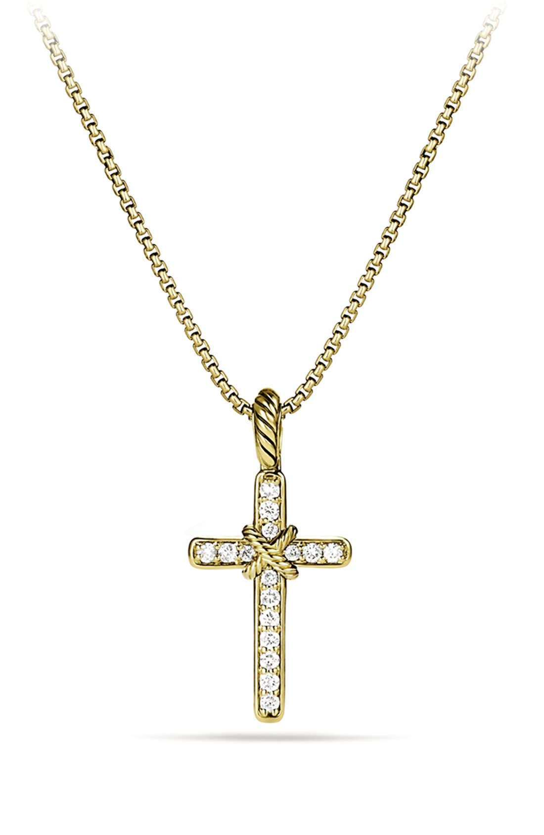 Alternate Image 1 Selected - David Yurman 'Cable Collectibles - X' Cross with Diamonds in Gold on Chain