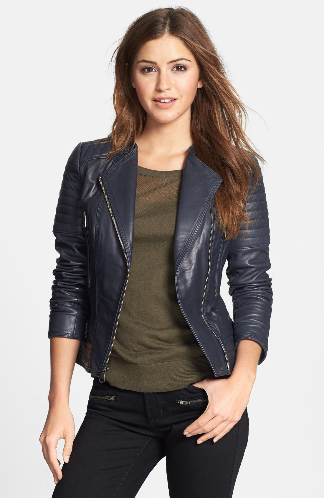 Main Image - Marc New York Channel Quilt Leather Moto Jacket