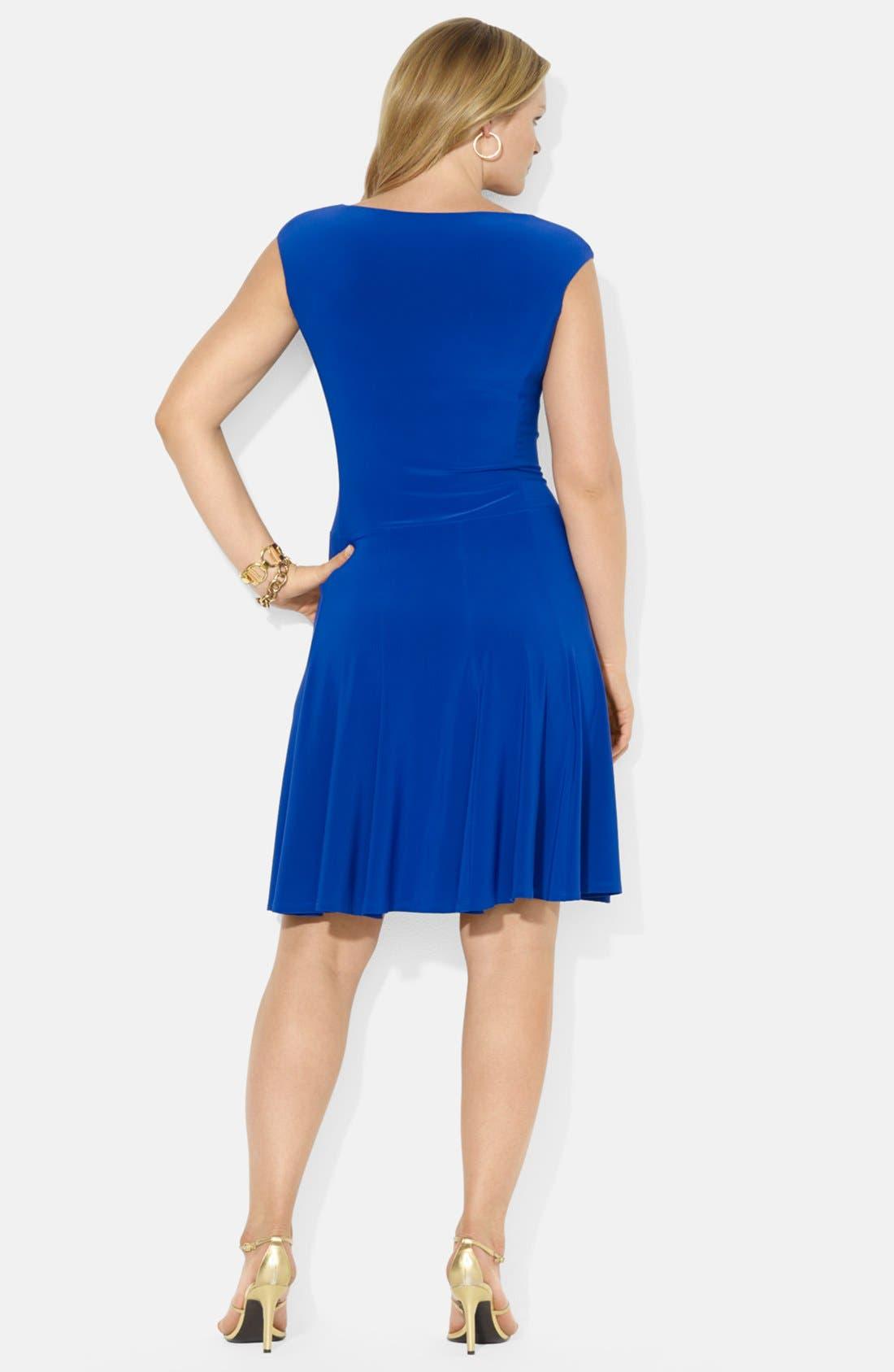 Alternate Image 2  - Lauren Ralph Lauren Boat Neck Stretch Jersey Dress (Plus Size)