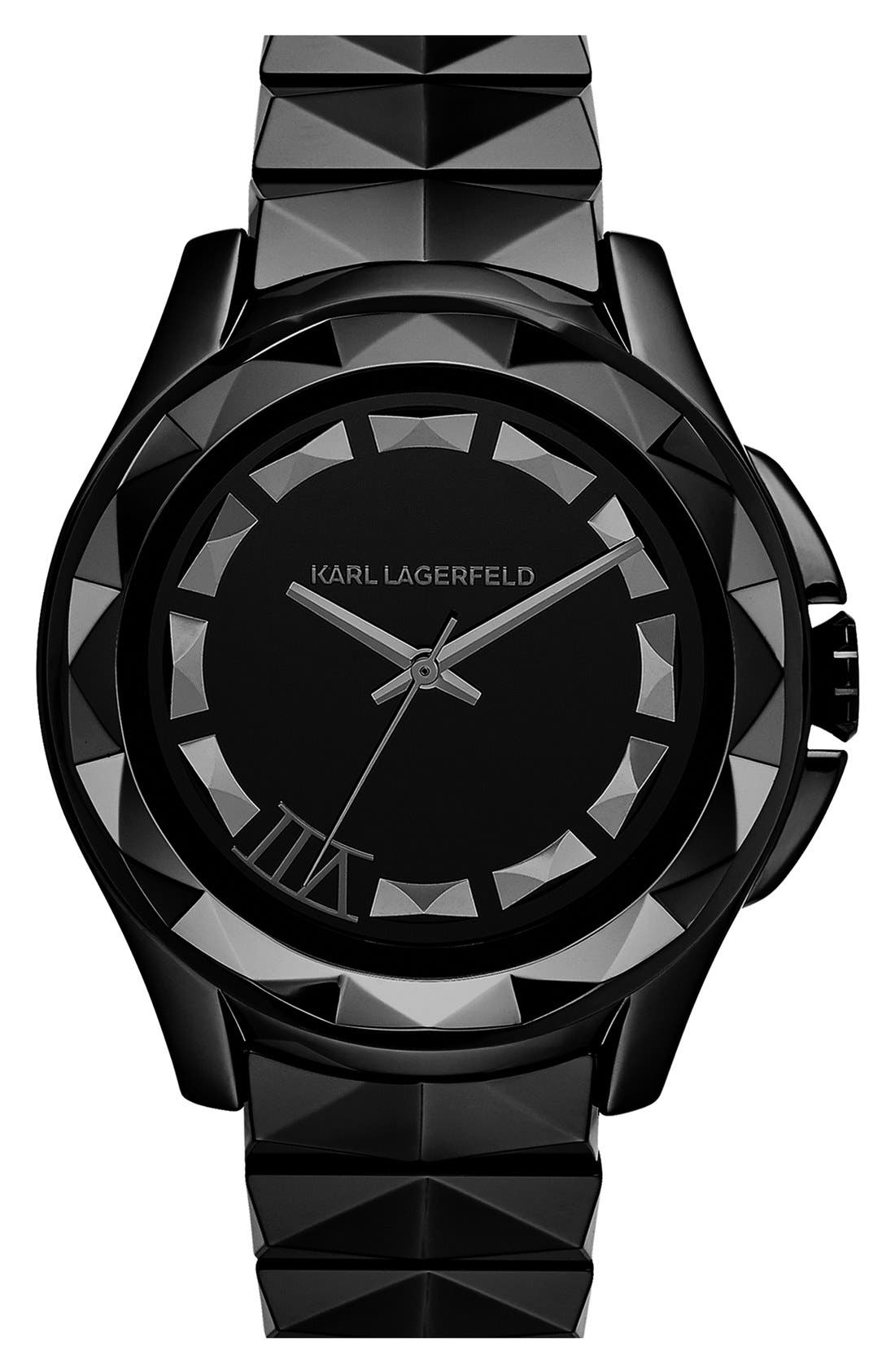 Main Image - KARL LAGERFELD '7' Beveled Bezel Ceramic Bracelet Watch, 44mm