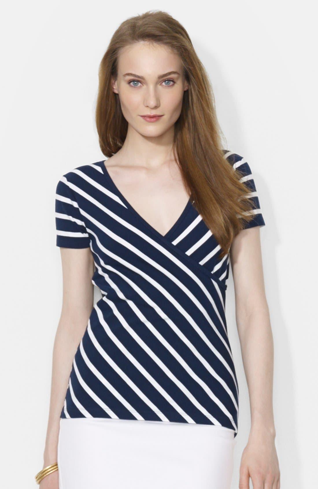 Alternate Image 1 Selected - Lauren Ralph Lauren Stripe V-Neck Surplice Top