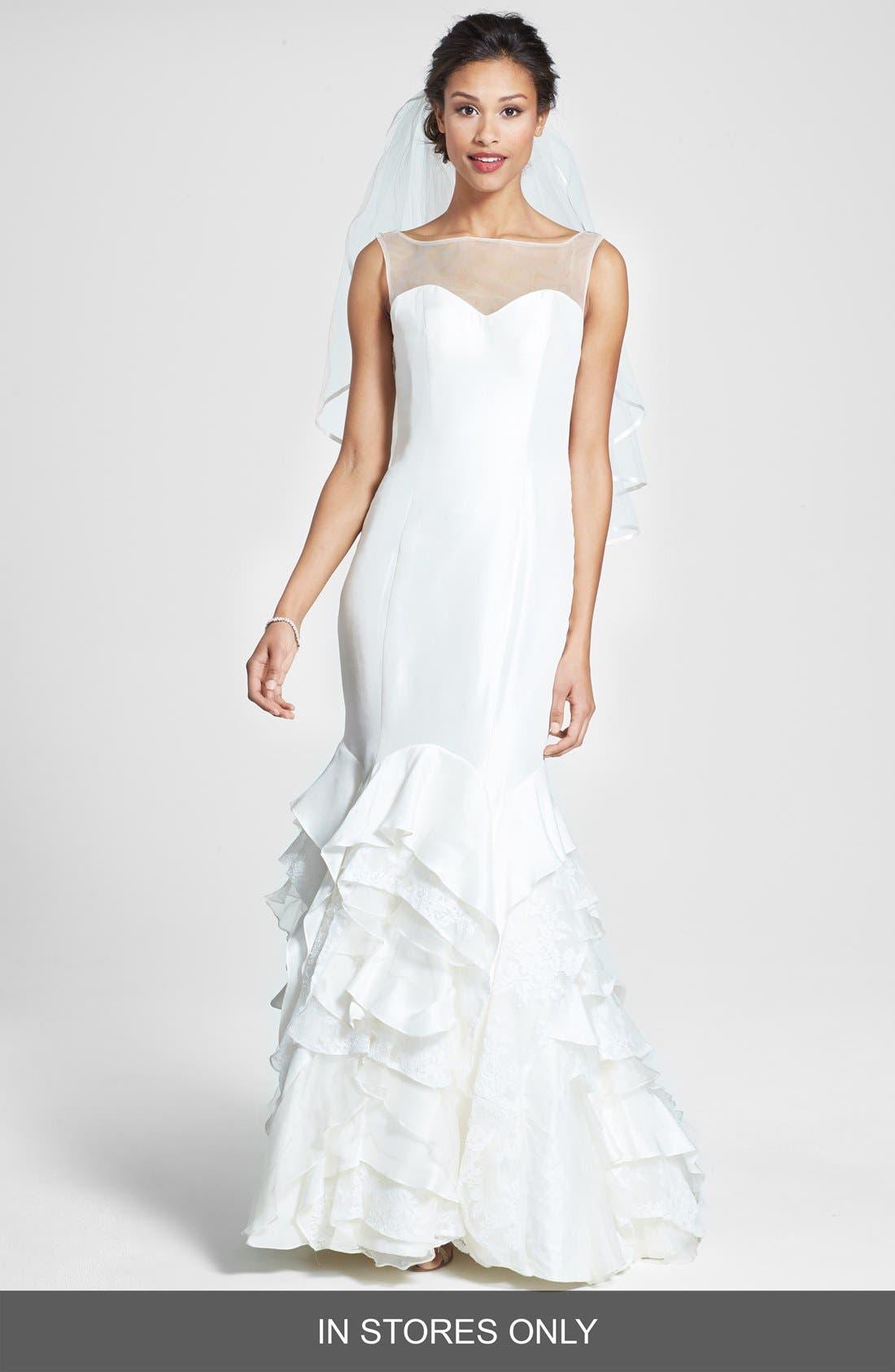 Main Image - Olia Zavozina 'Emma' Lace Inset Ruffled Silk Shantung Mermaid Dress (In Stores Only)