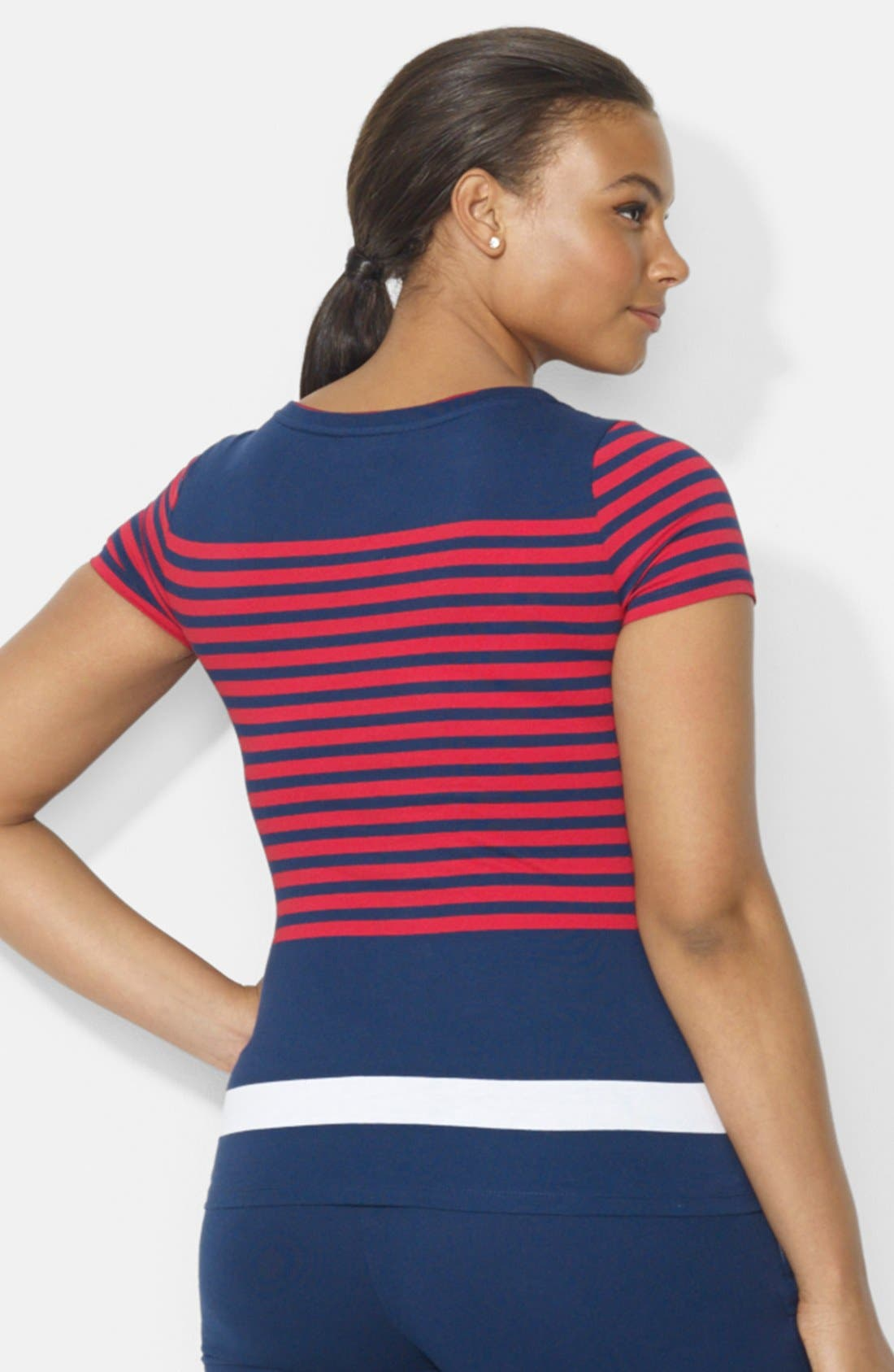 Alternate Image 2  - Lauren Ralph Lauren Colorblock Stripe Cotton Tee (Plus Size)