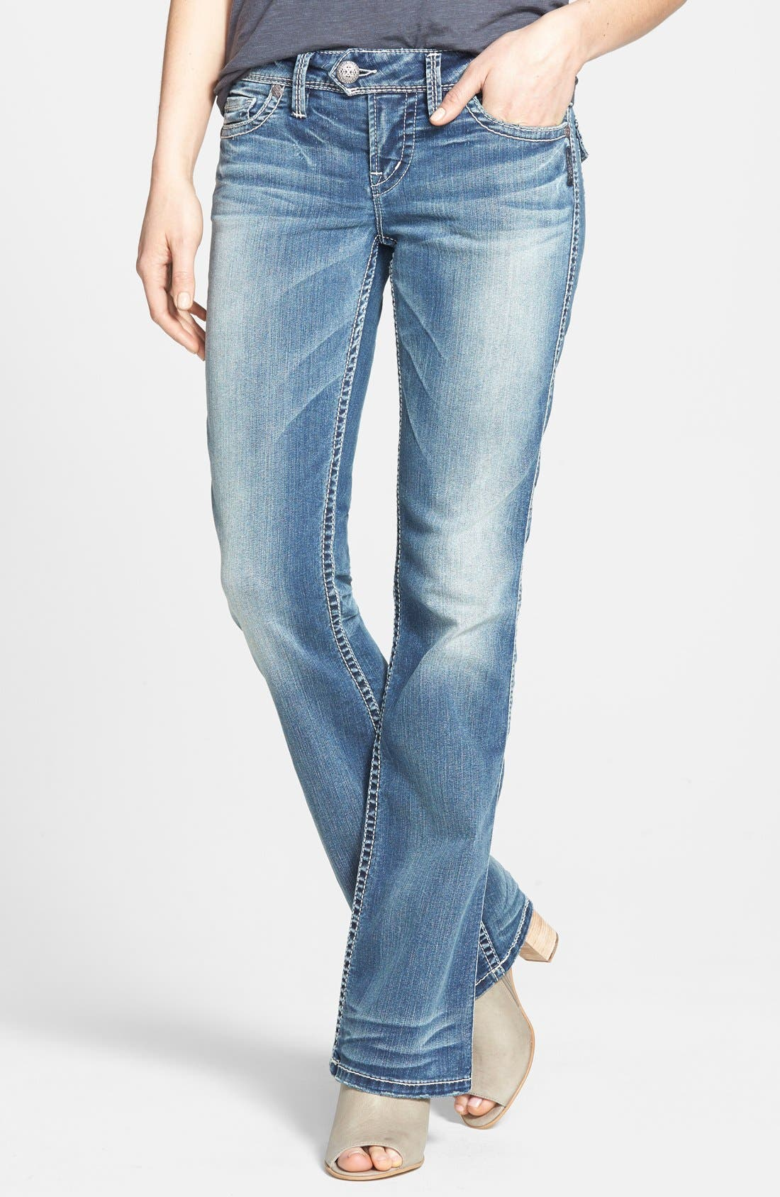 Alternate Image 1 Selected - Silver Jeans Co. 'Tuesday'  Flap Pocket Bootcut Jeans (Indigo)