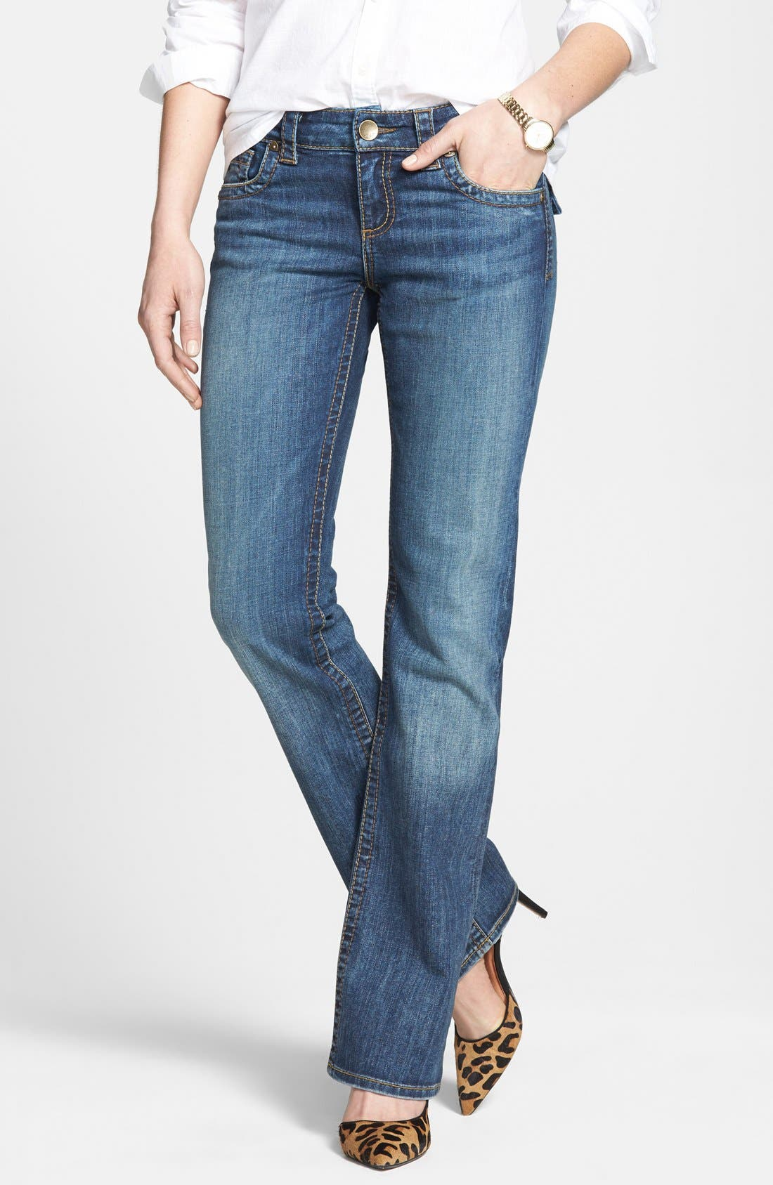 Alternate Image 1 Selected - KUT from the Kloth 'Natalie' Bootcut Jeans (Black)