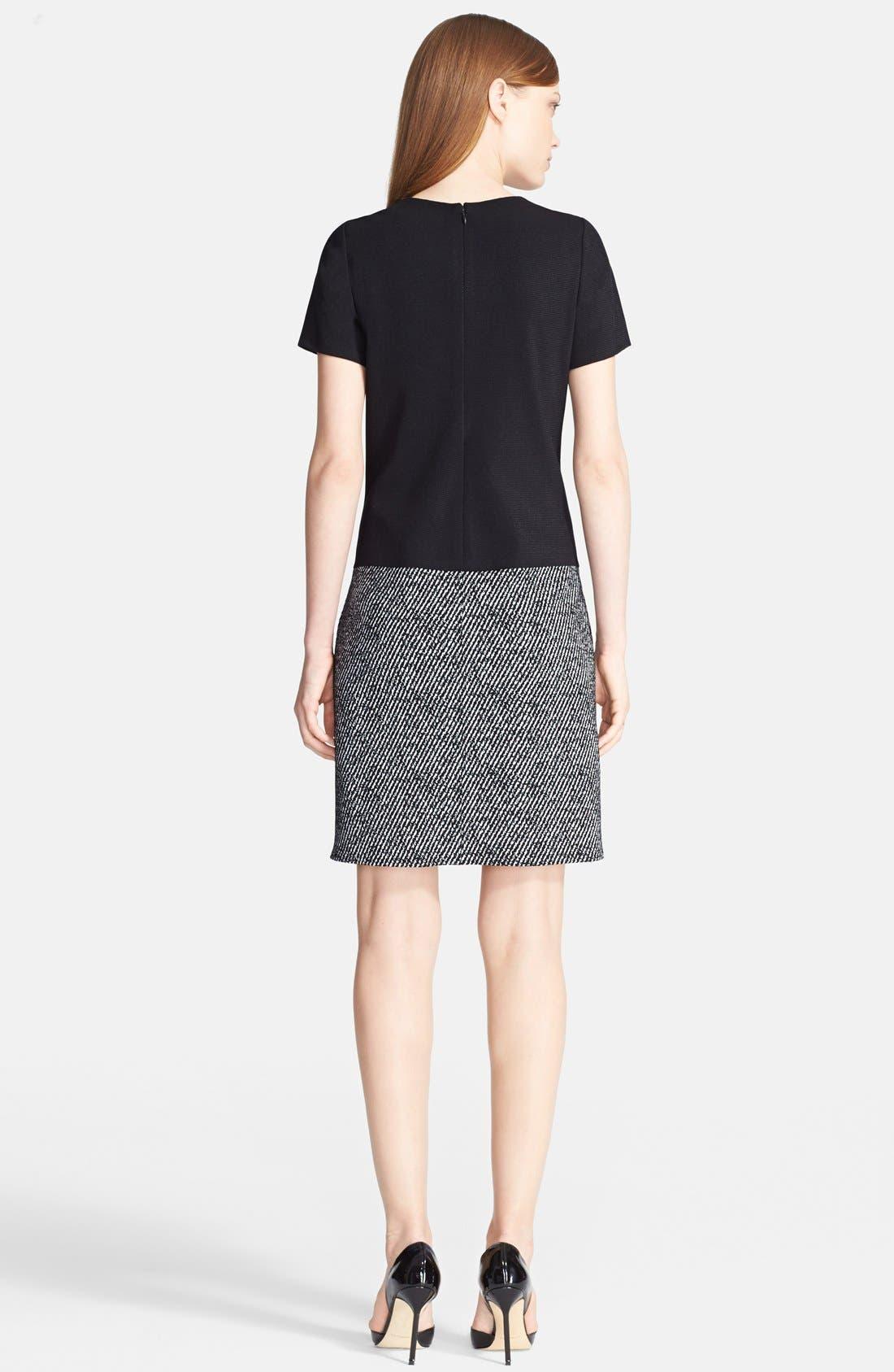 Alternate Image 2  - Prabal Gurung Short Sleeve Leather Panel Knit Dress