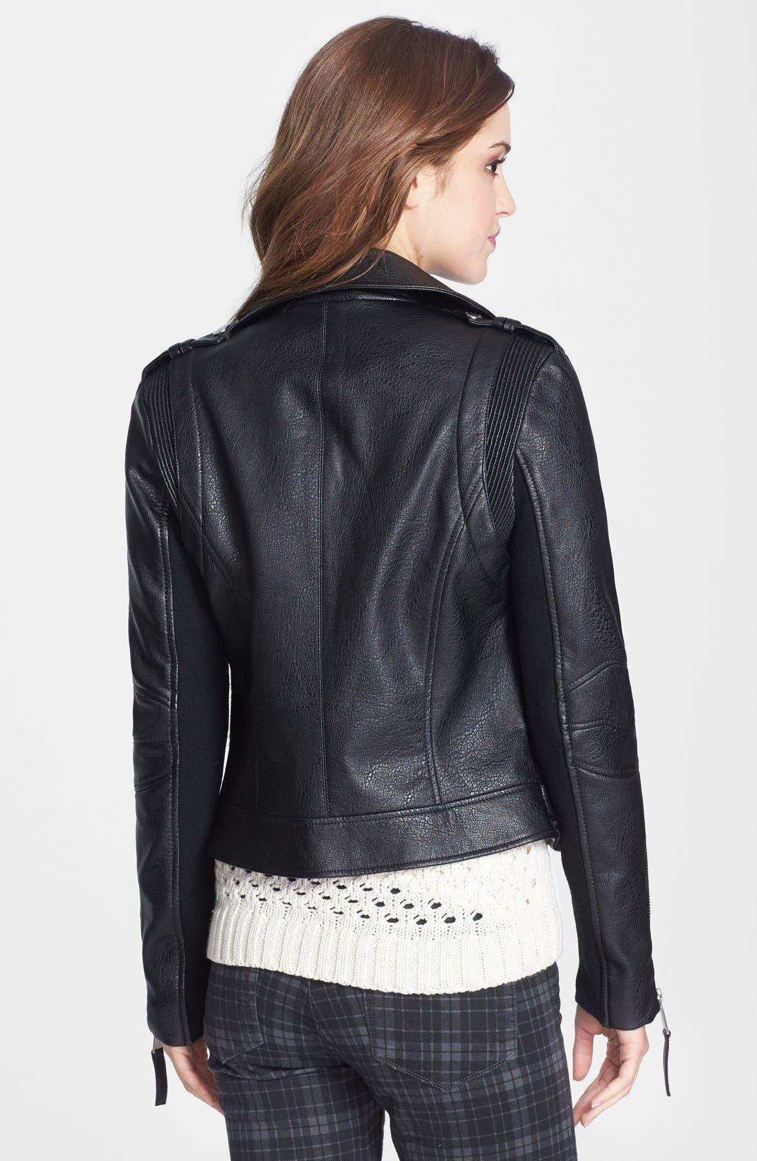 Alternate Image 2  - BCBGeneration Faux Leather & Faux Calf Hair Moto Jacket