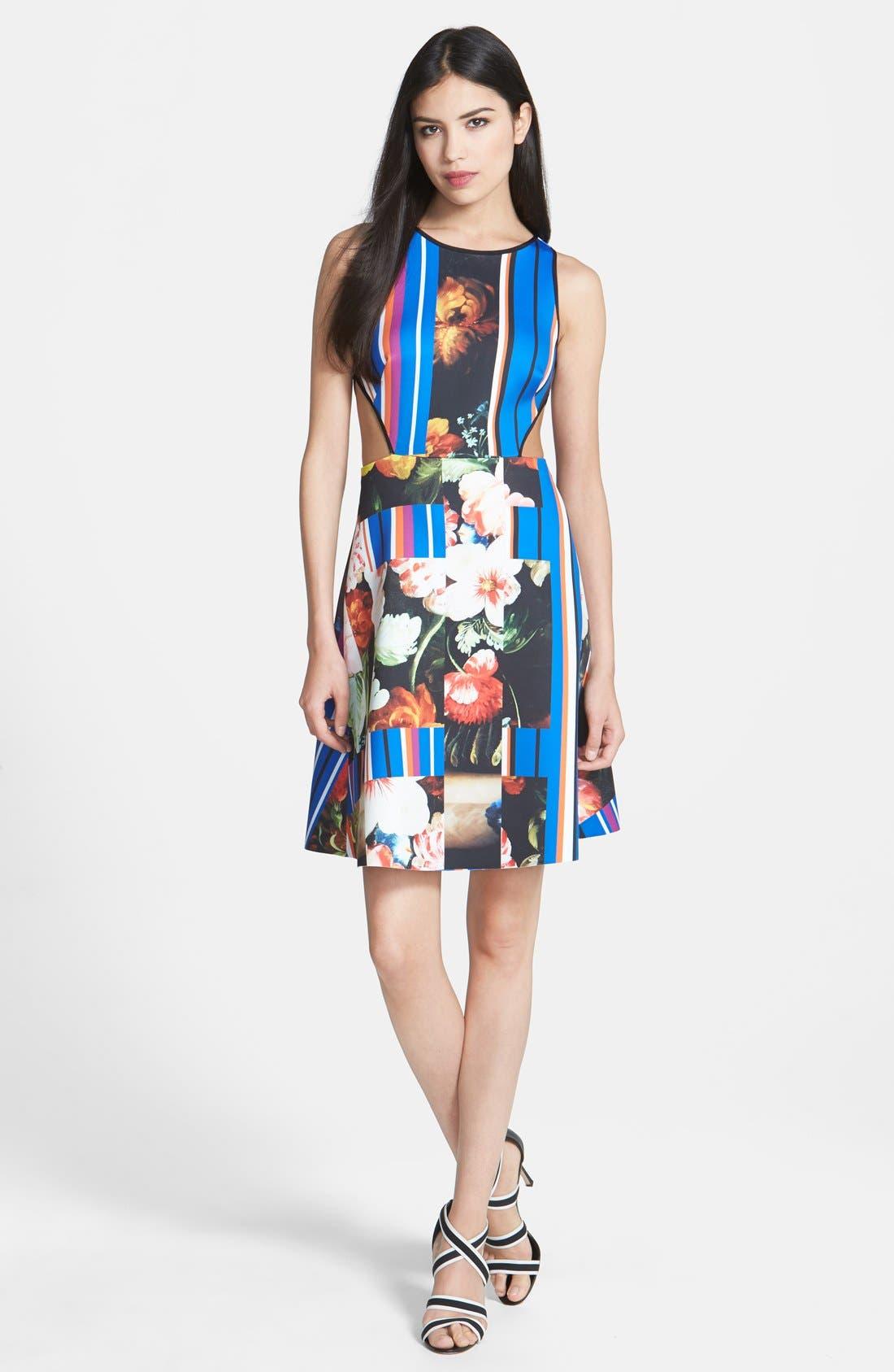 Alternate Image 1 Selected - Clover Canyon 'Grecian Bouquet' Print Neoprene A-Line Dress