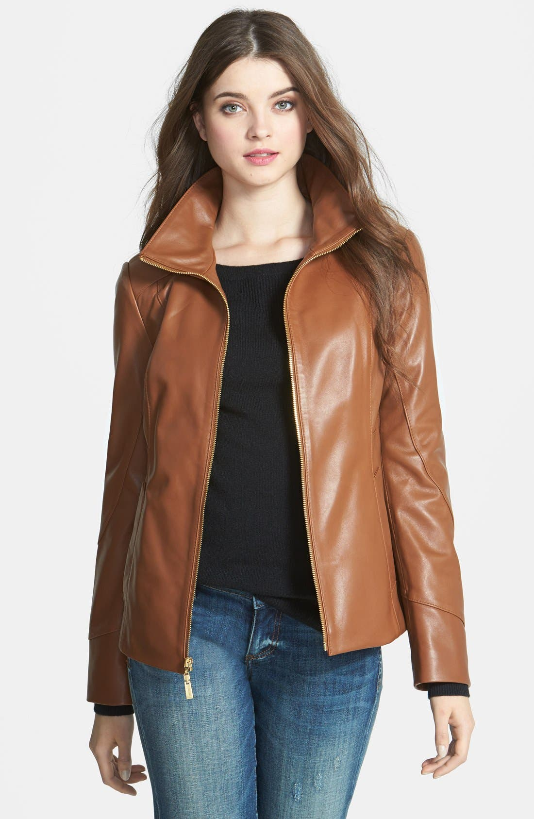 Main Image - Ellen Tracy Stand Collar Leather Scuba Jacket