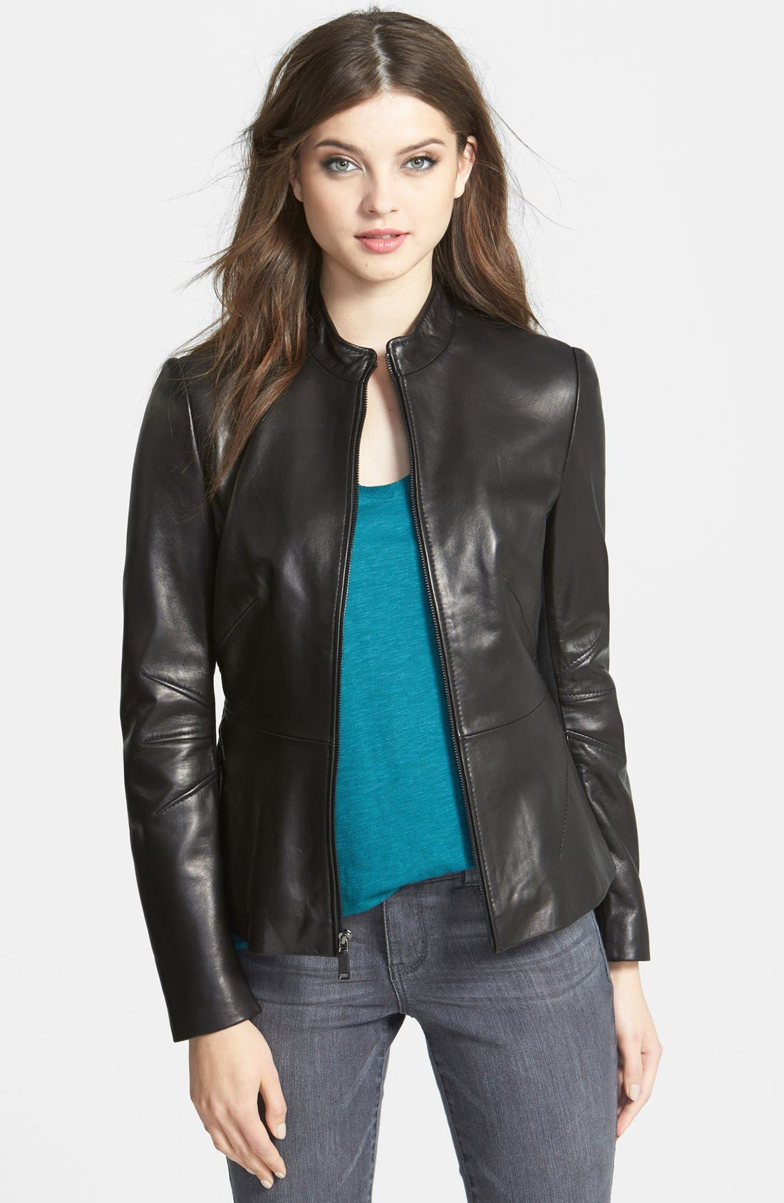 Main Image - T Tahari 'Marcille' Leather Scuba Jacket