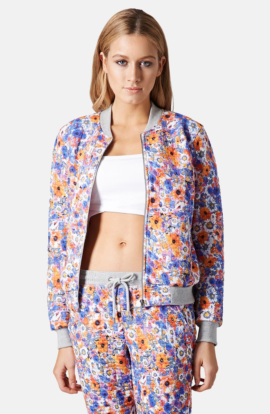 Alternate Image 1 Selected - Topshop Floral Print Jersey Bomber Jacket