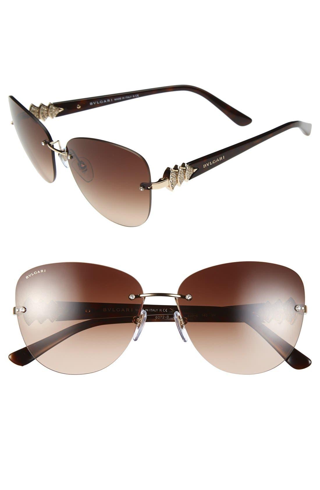 Alternate Image 1 Selected - BVLGARI 59mm Rimless Aviator Sunglasses
