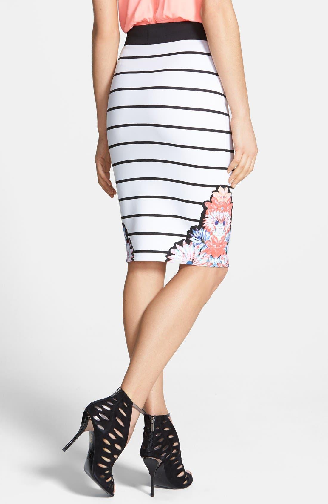 Alternate Image 2  - MINKPINK 'Fade into Daisies' Print Stripe Tube Skirt