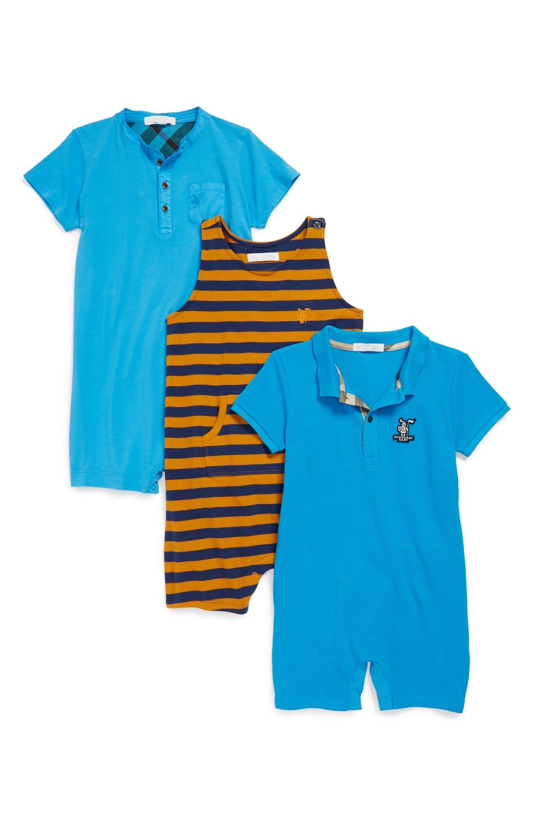 Alternate Image 1 Selected - Burberry 'Avison' Romper Gift Set (Set of 3) (Toddler Boys)