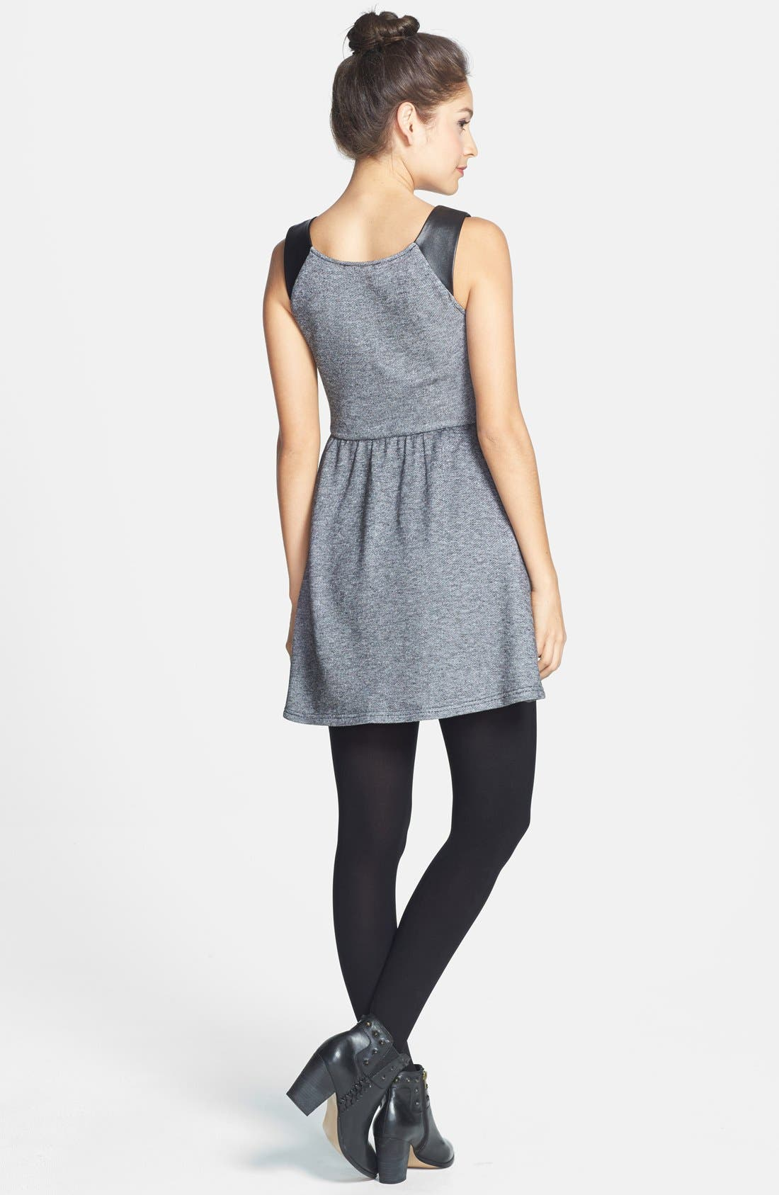 Alternate Image 2  - Socialite Faux Leather Insert Skater Dress (Juniors) (Online Only)