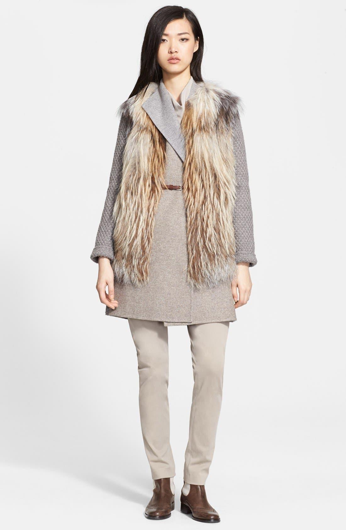 Alternate Image 3  - Fabiana Filippi Genuine Fox Fur Sweater Vest with Leather Belt