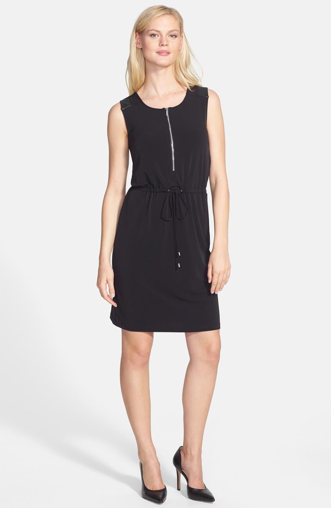 Alternate Image 1 Selected - Calvin Klein Faux Leather Trim Drawstring Waist Dress
