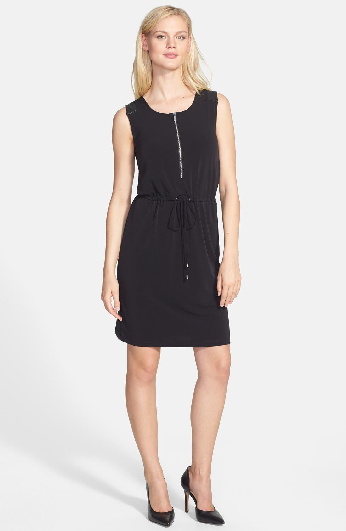 Main Image - Calvin Klein Faux Leather Trim Drawstring Waist Dress