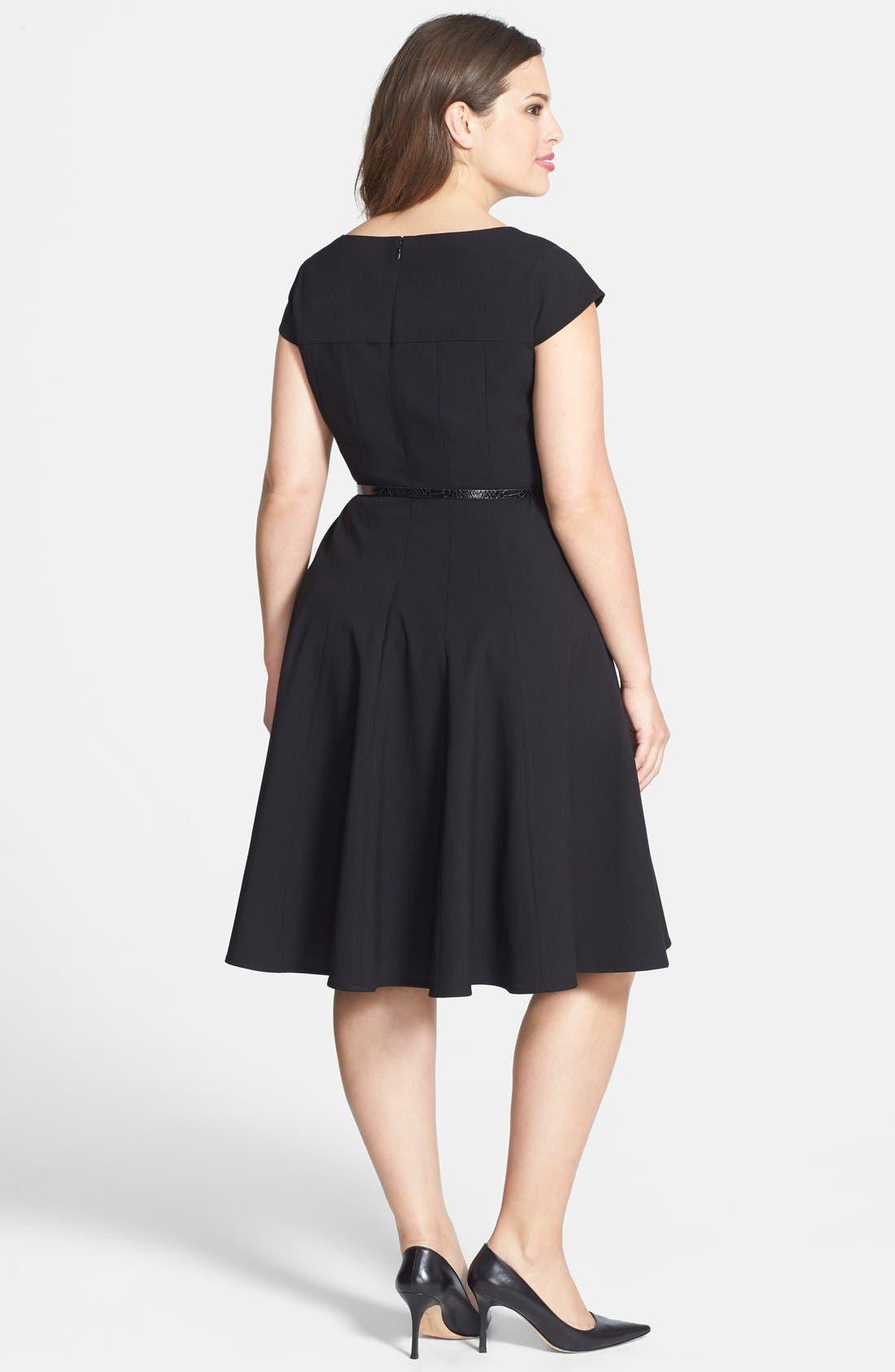 Alternate Image 2  - Calvin Klein Cap Sleeve Fit & Flare Dress (Plus Size)