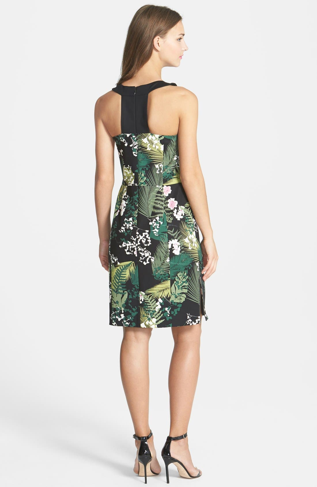 Alternate Image 2  - Adrianna Papell 'Rainforest' Print Cutout Stretch Cotton Dress
