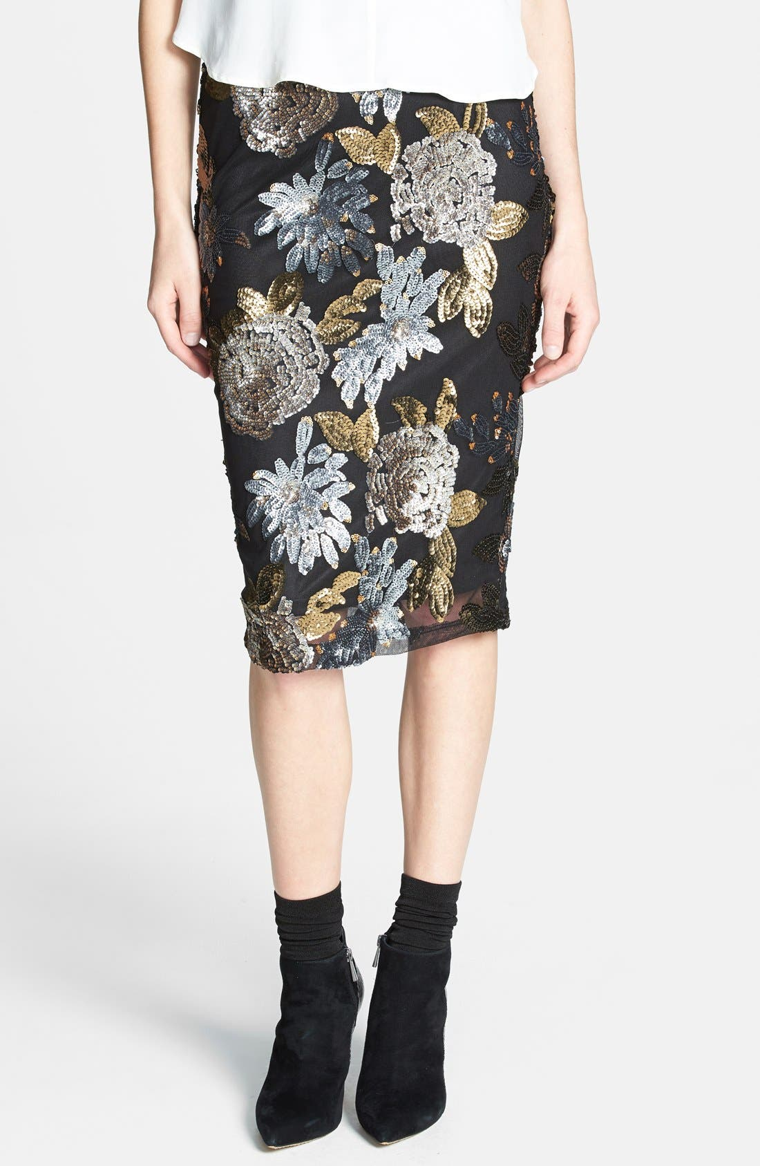 JOA Floral Sequin Body-Con Skirt | Nordstrom