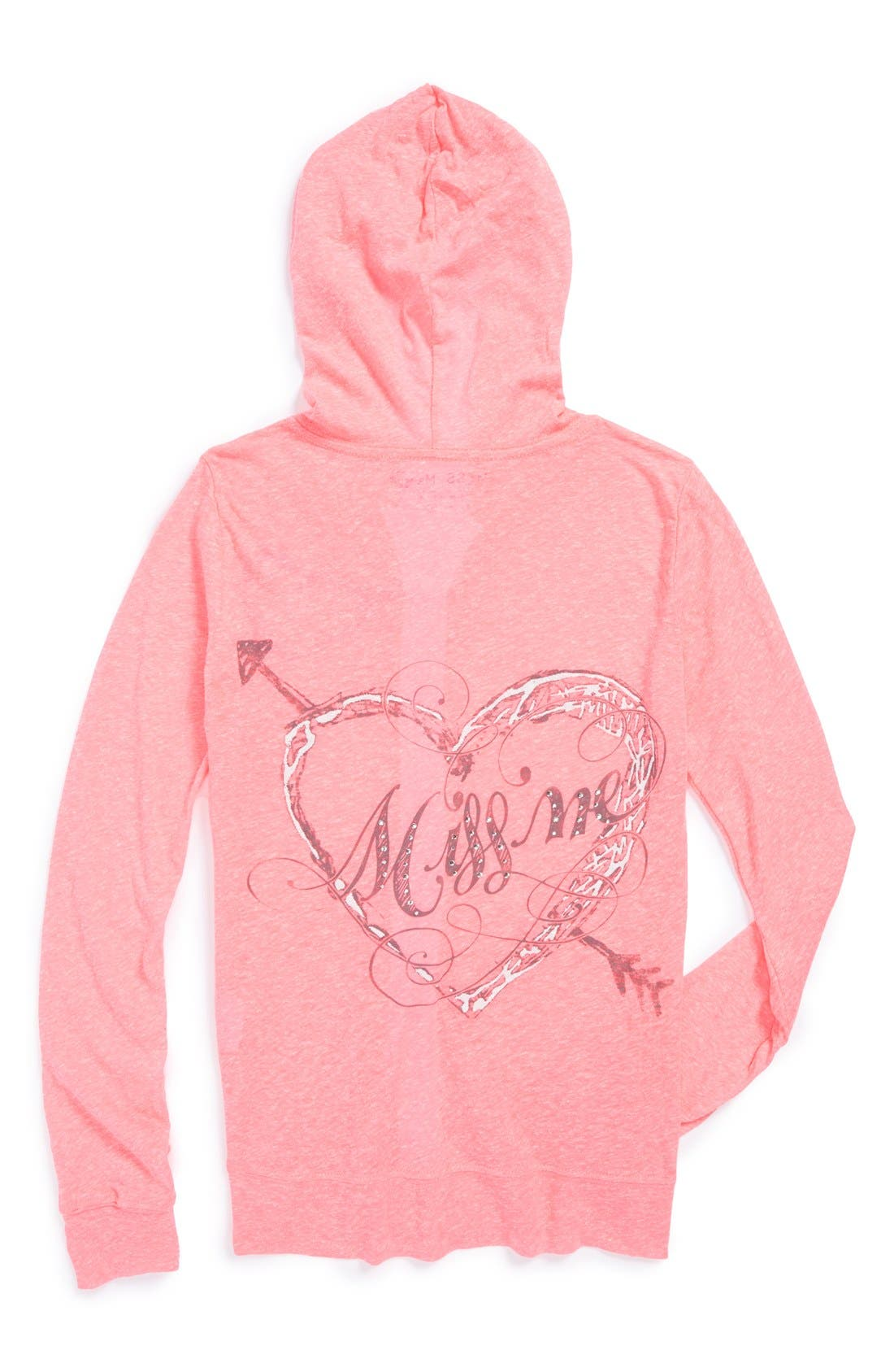 Alternate Image 2  - Miss Me Embellished Screenprint Hoodie (Big Girls)