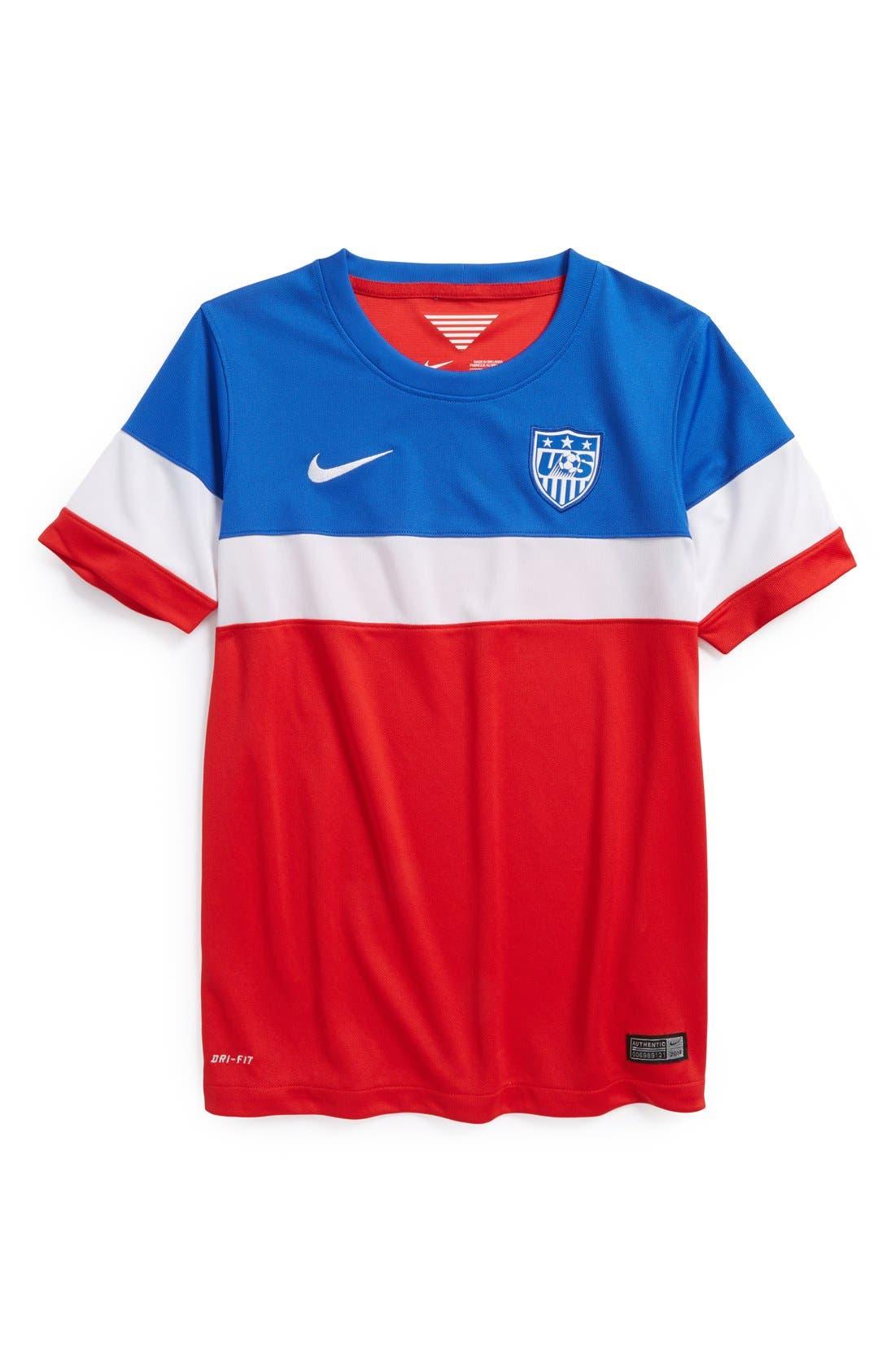 Alternate Image 1 Selected - Nike 'USA - 2014 Stadium' Dri-FIT World Soccer Jersey (Big Boys)