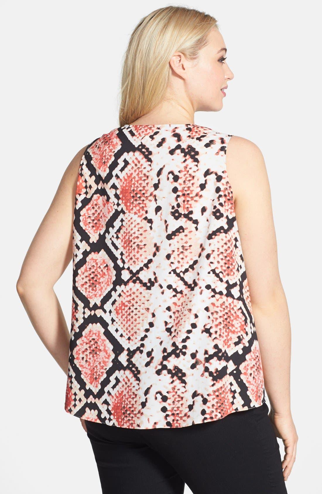 Alternate Image 2  - DKNYC Print Sleeveless Draped Blouse (Plus Size)