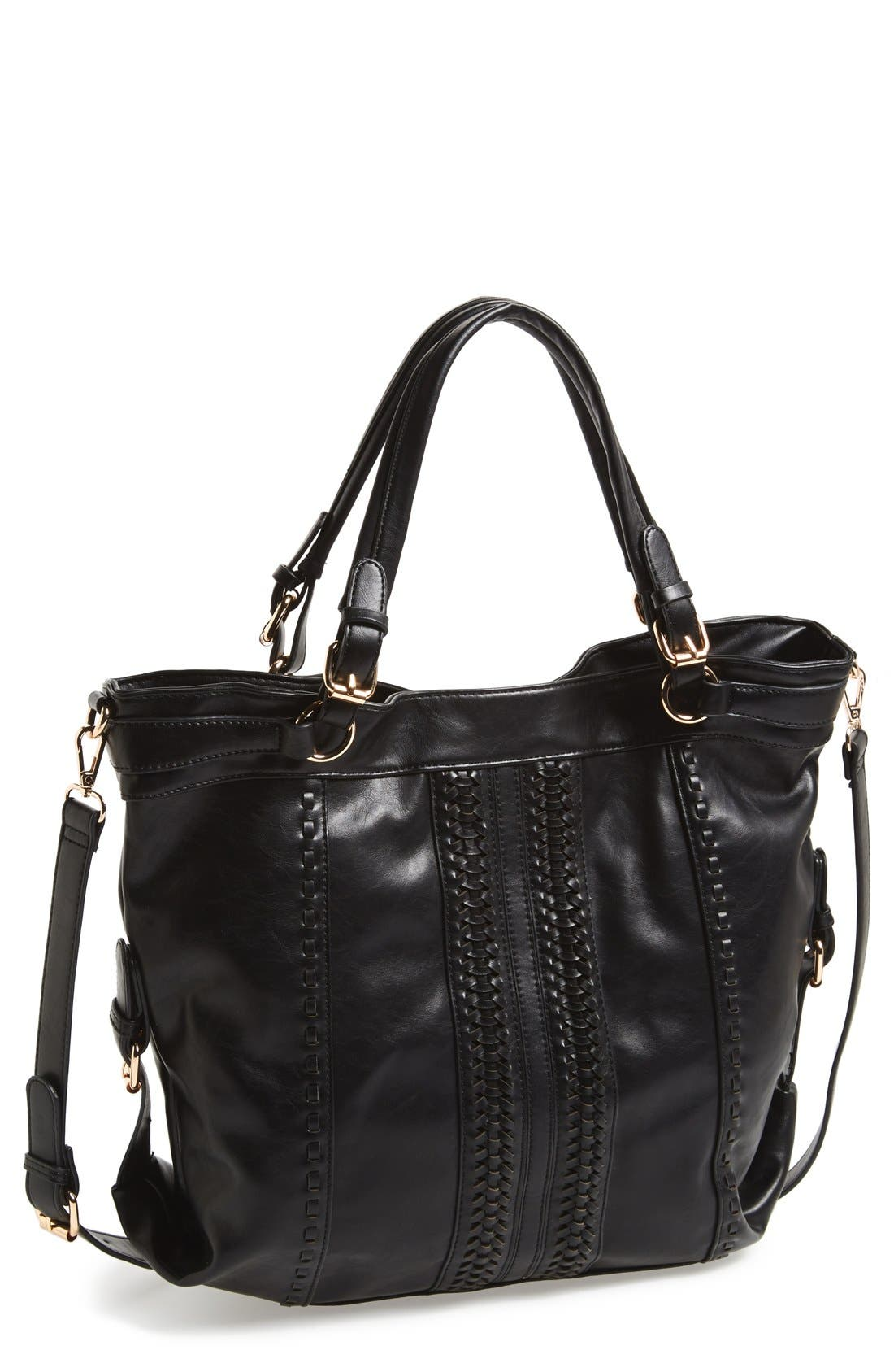 Main Image - Sole Society 'Oversize' Woven Faux Leather Shoulder Bag