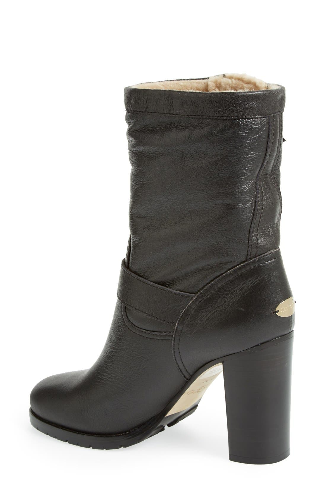 Alternate Image 2  - Jimmy Choo 'Dart' Leather & Genuine Shearling Mid Calf Moto Boot (Women)