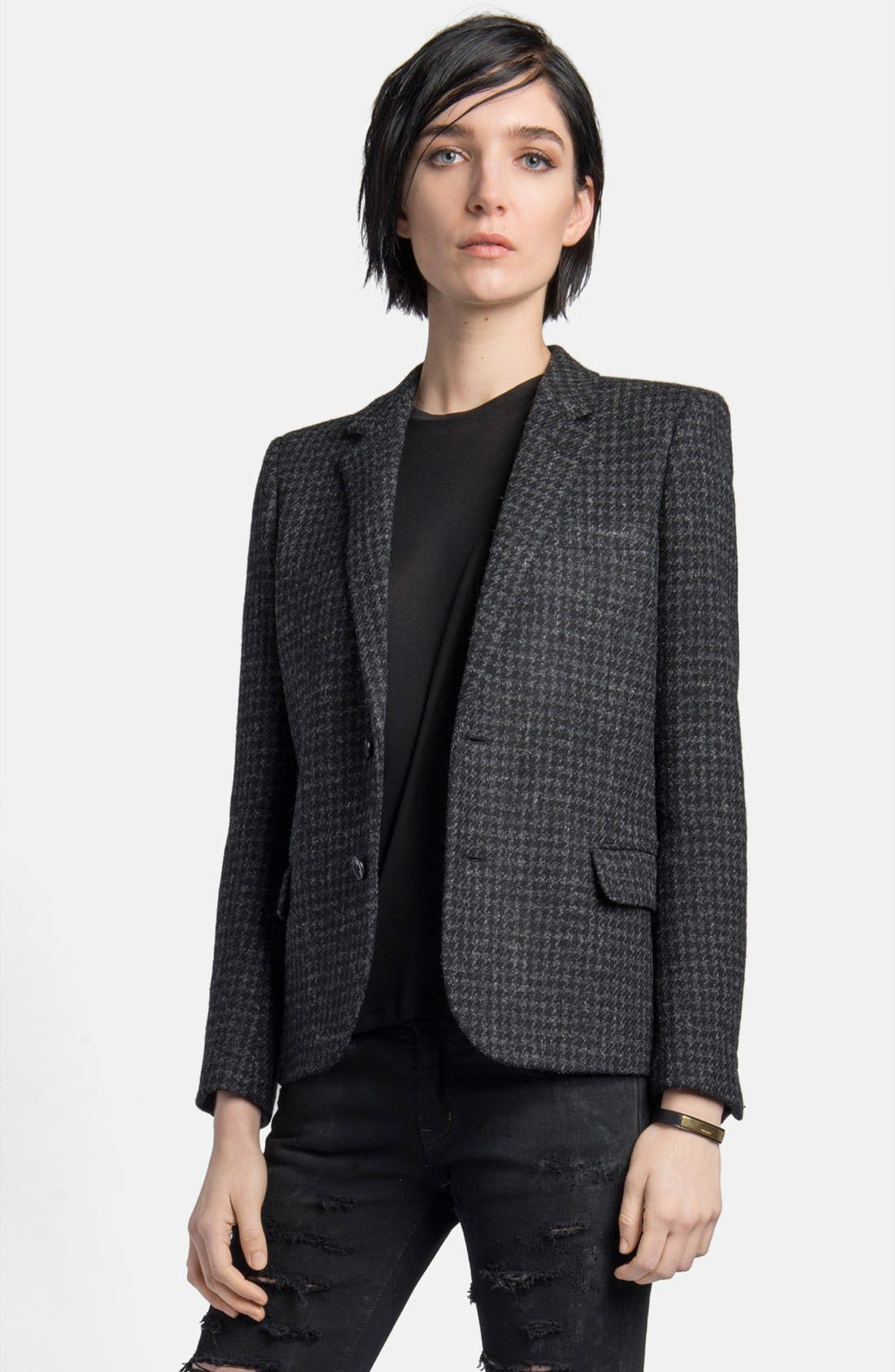 Main Image - Saint Laurent Leather Elbow Patch Houndstooth Tweed Blazer
