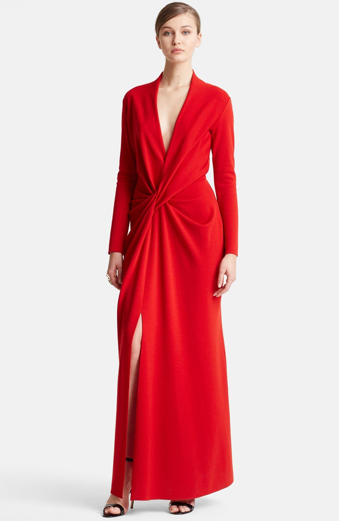 Main Image - Lanvin Deep V-Neck Wool Jersey Gown