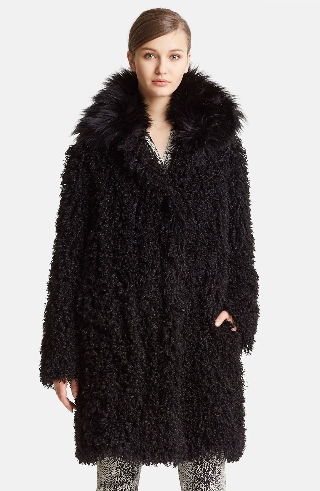 Alternate Image 1 Selected - Lanvin Faux Mongolian Fur Coat