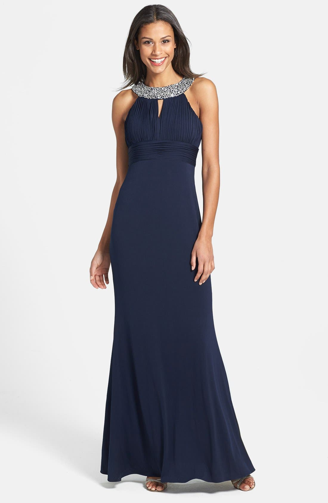 Alternate Image 1 Selected - JS Boutique Beaded Neck Jersey Gown