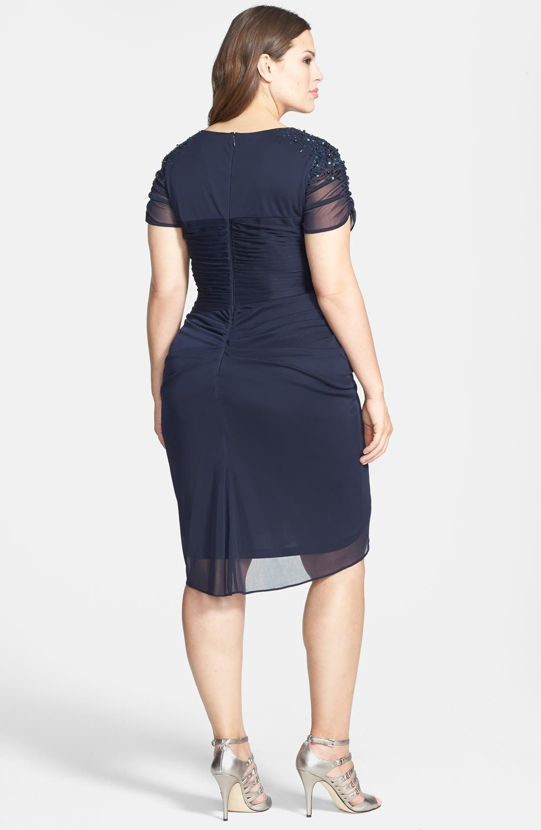 Alternate Image 2  - Adrianna Papell Cap Sleeve Side Ruched Dress (Plus Size)