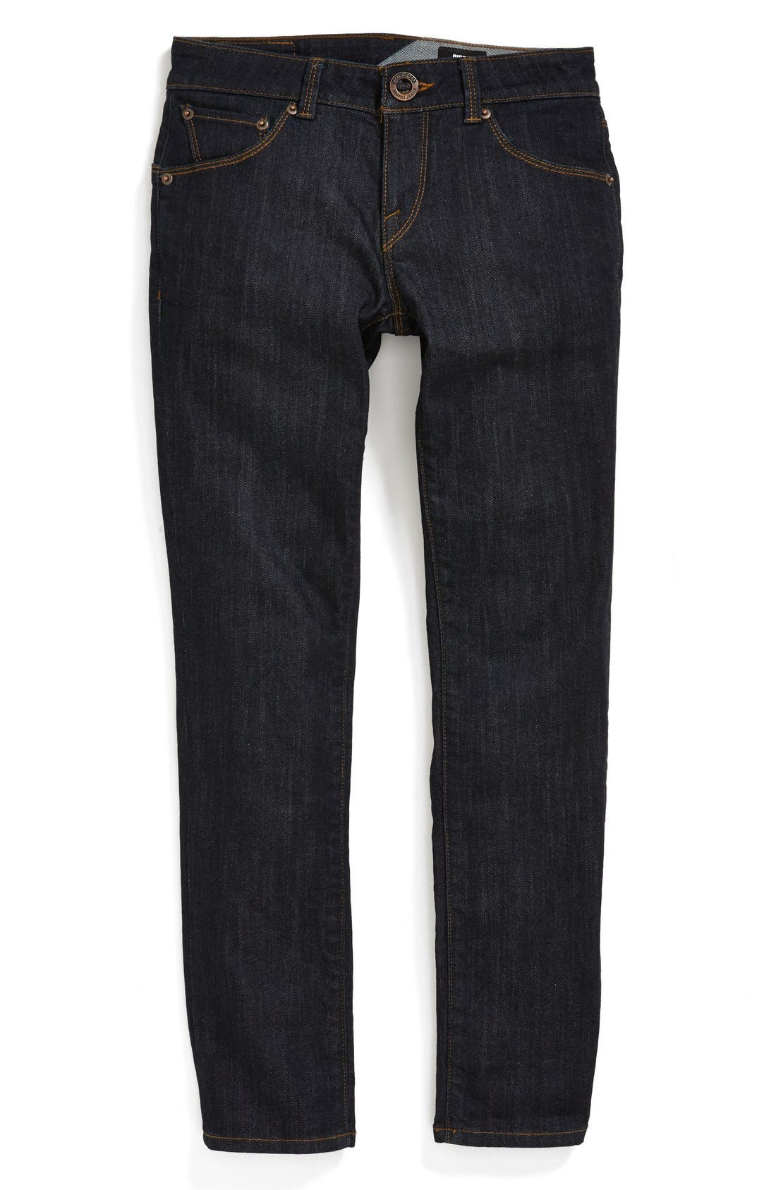 Main Image - Volcom 'Riser' Skinny Straight Leg Jeans (Big Boys)