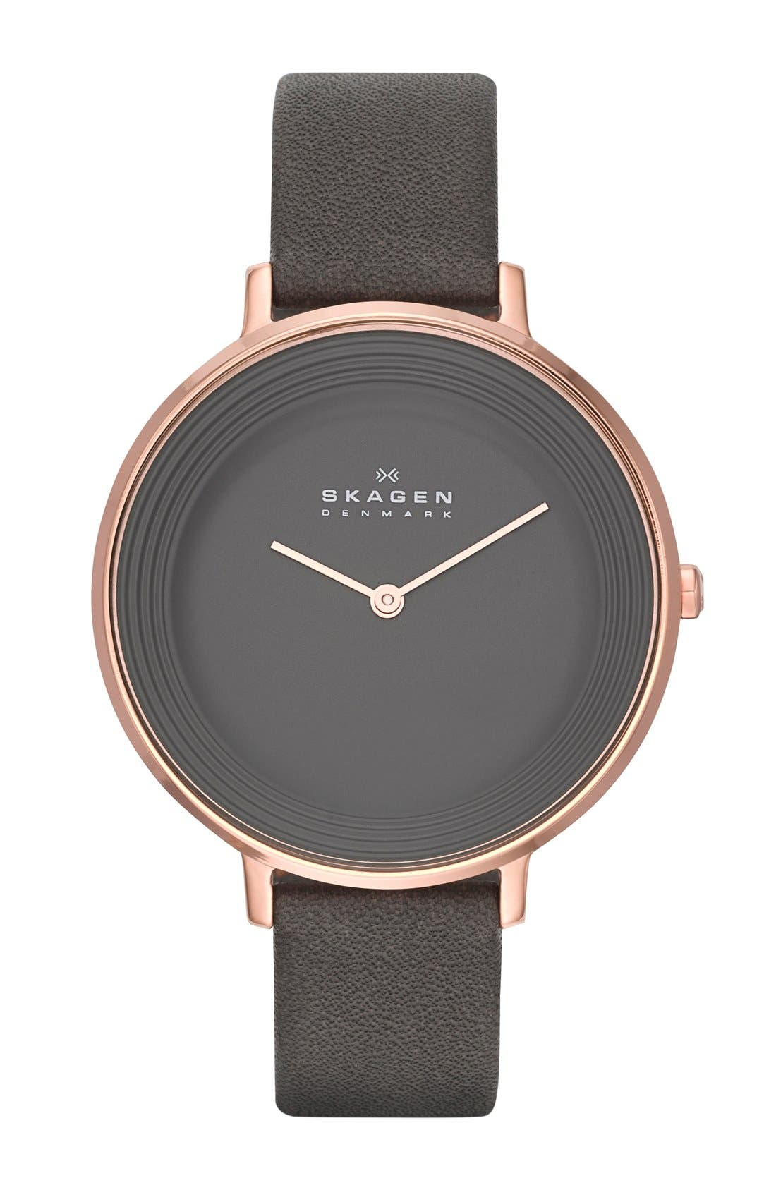 Alternate Image 1 Selected - Skagen 'Ditte' Leather Strap Watch, 37mm