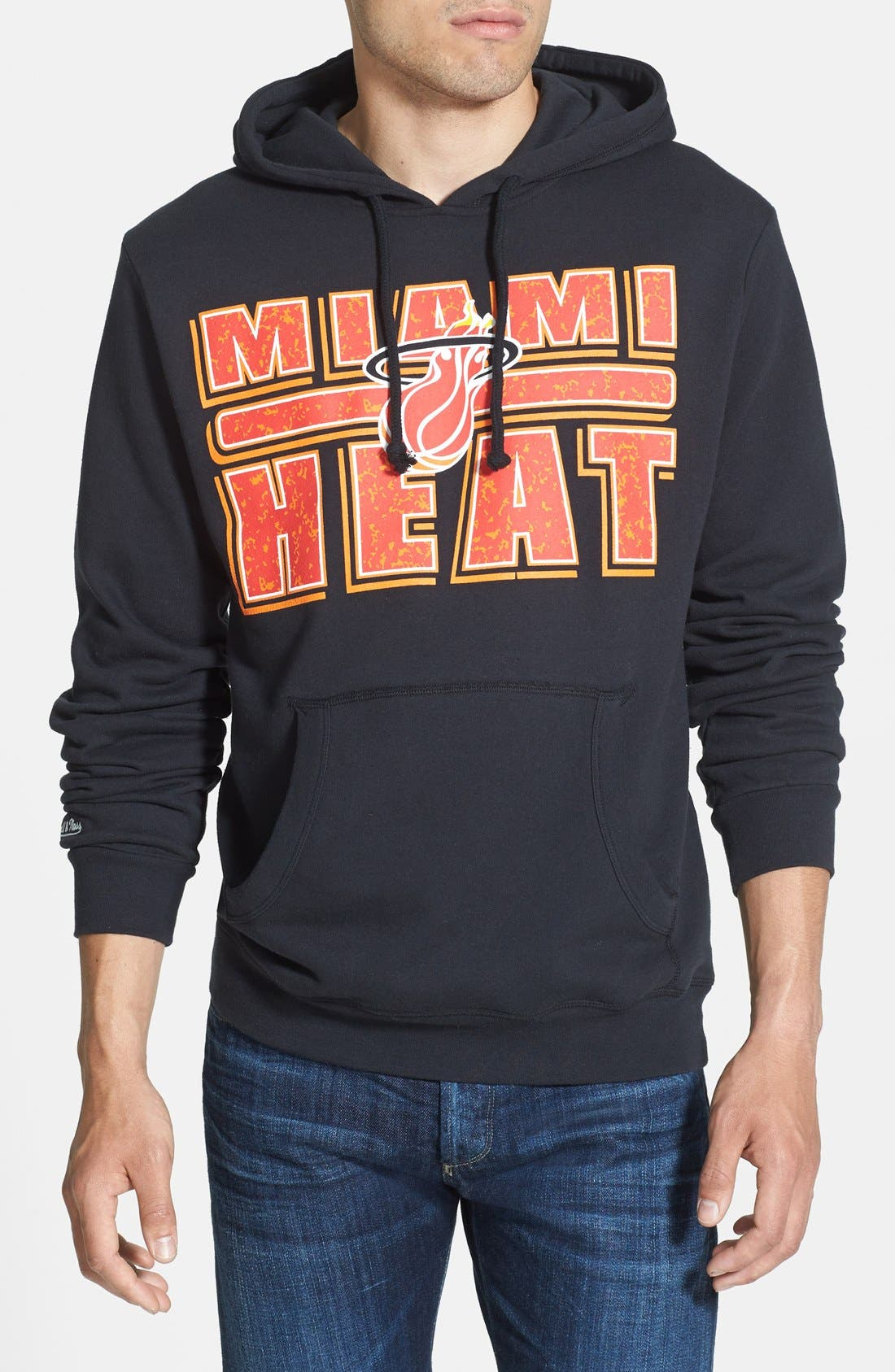Alternate Image 1 Selected - Mitchell & Ness 'Miami Heat - Bold Block' Tailored Fit Hoodie