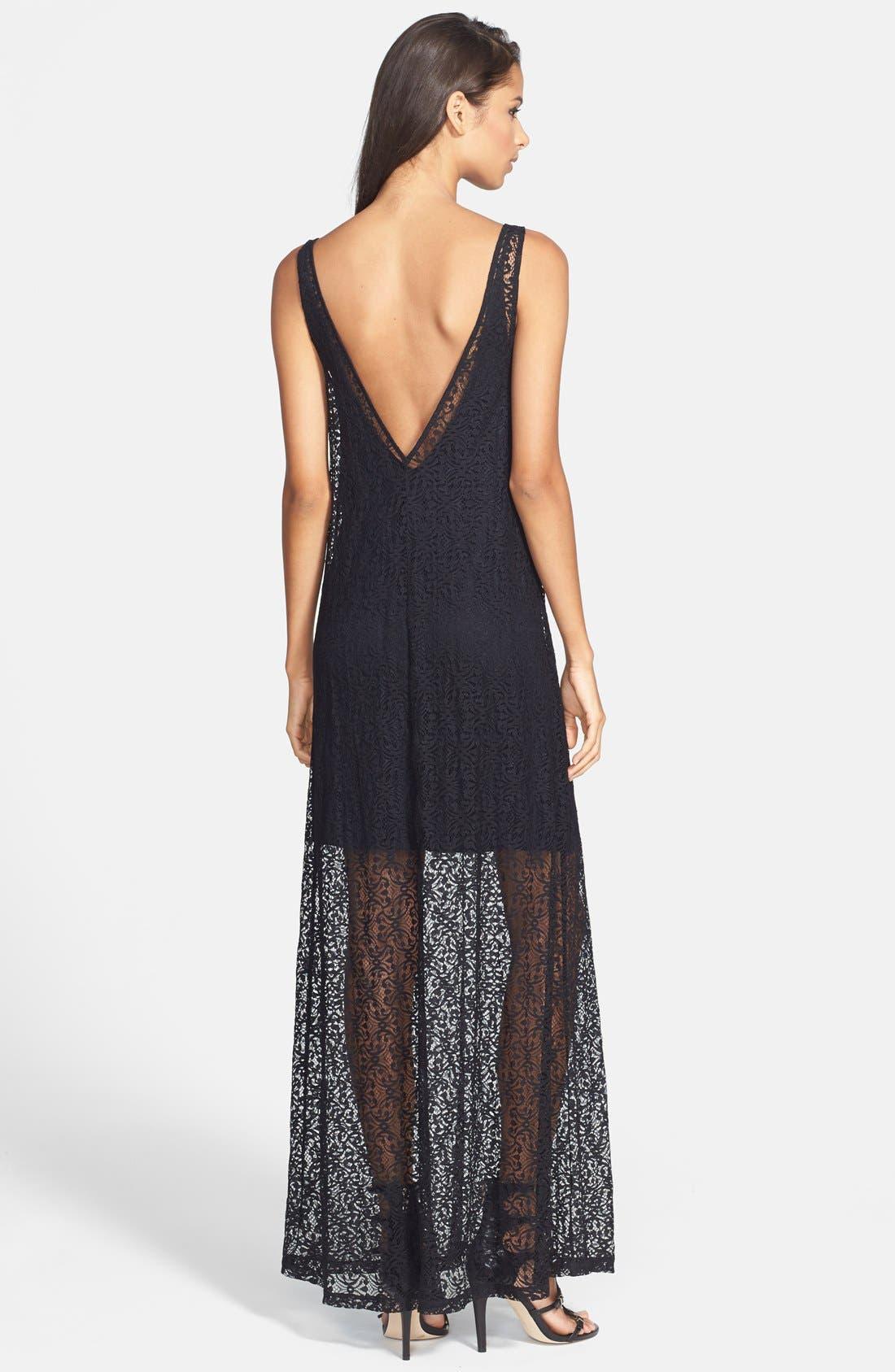 Alternate Image 2  - Tildon Floral Print Lace Maxi Dress