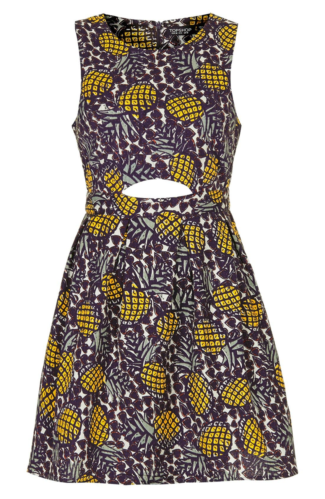 Alternate Image 3  - Topshop Pineapple Print Cutout Fit & Flare Dress