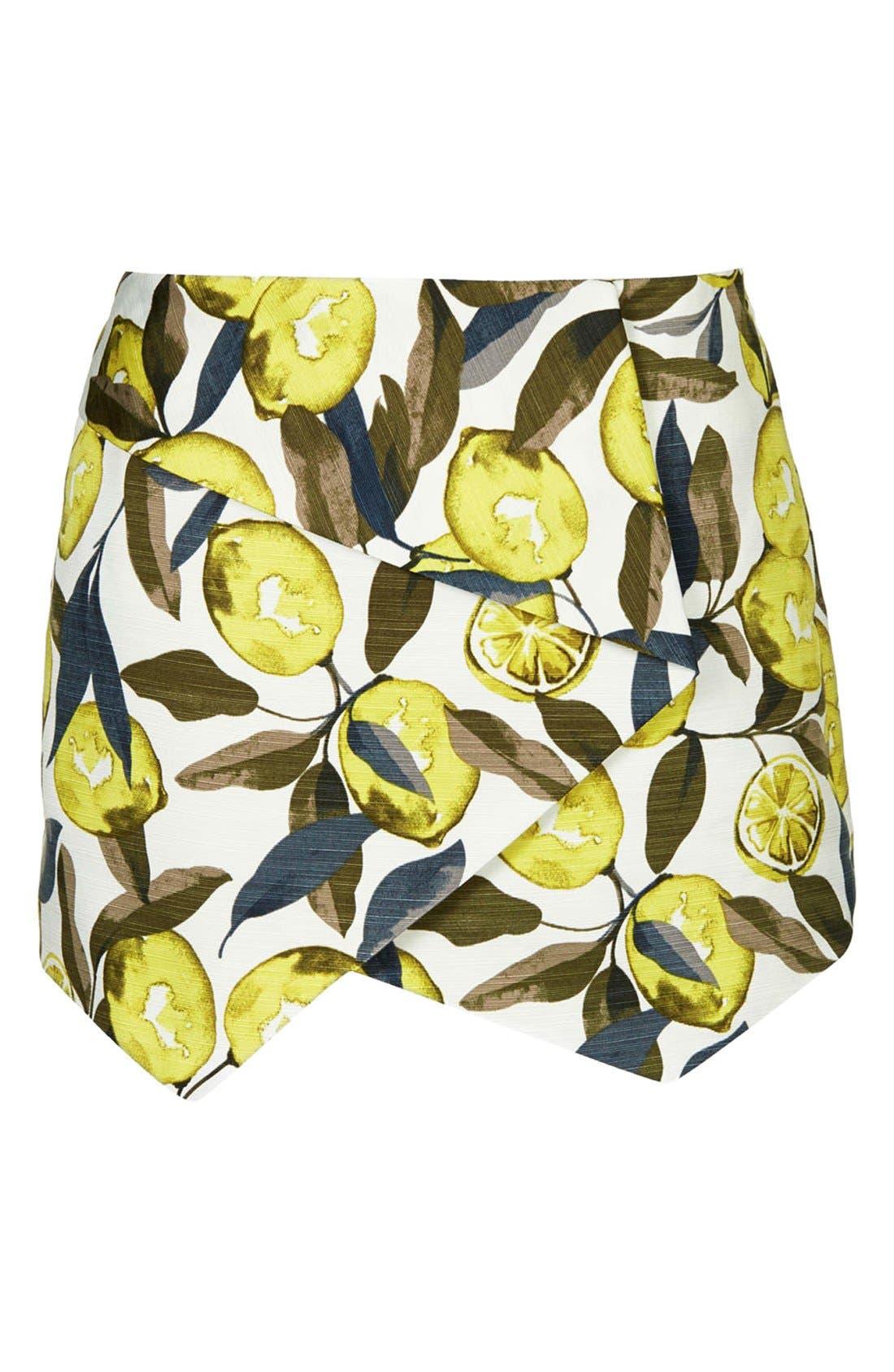 Alternate Image 3  - Topshop Lemon Print Pointed Hem Skort (Regular & Petite)