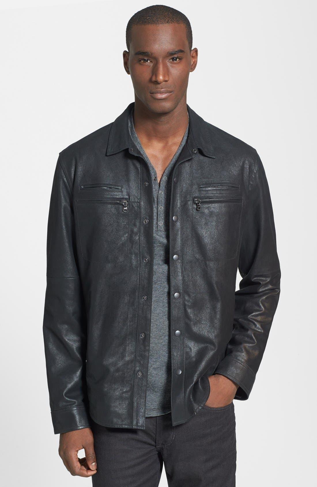 Main Image - John Varvatos Star USA Slim Fit Leather Shirt Jacket