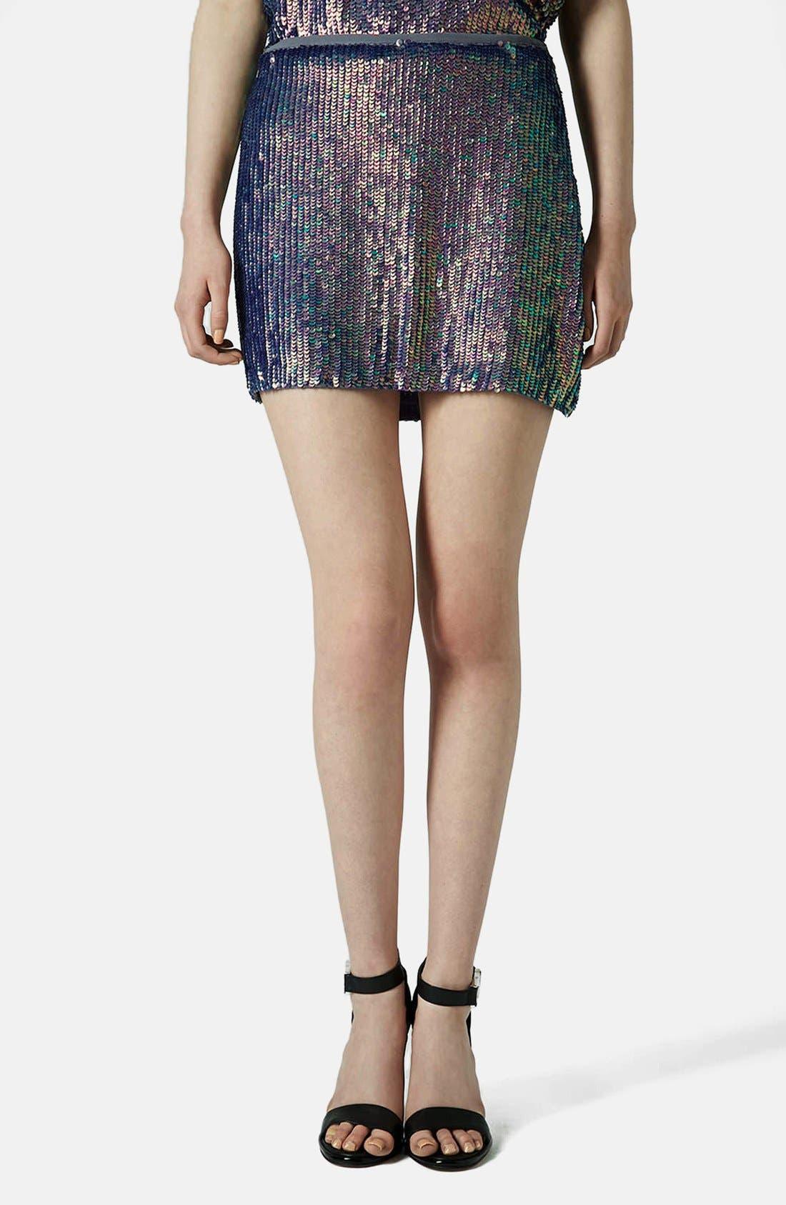 Main Image - Topshop Sequin Miniskirt