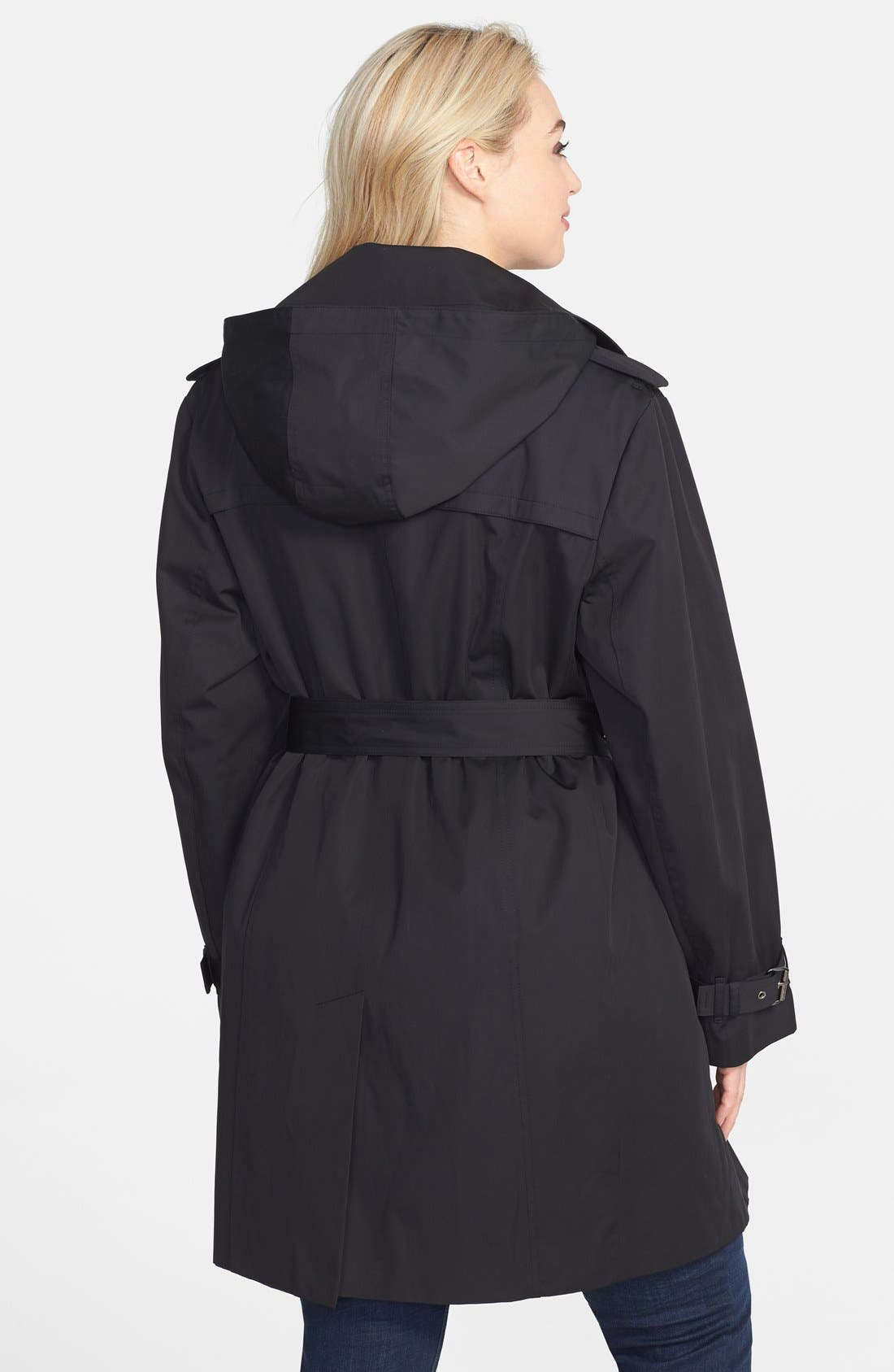 Alternate Image 2  - MICHAEL Michael Kors Trench Coat with Detachable Hood & Liner (Plus Size) (Online Only)