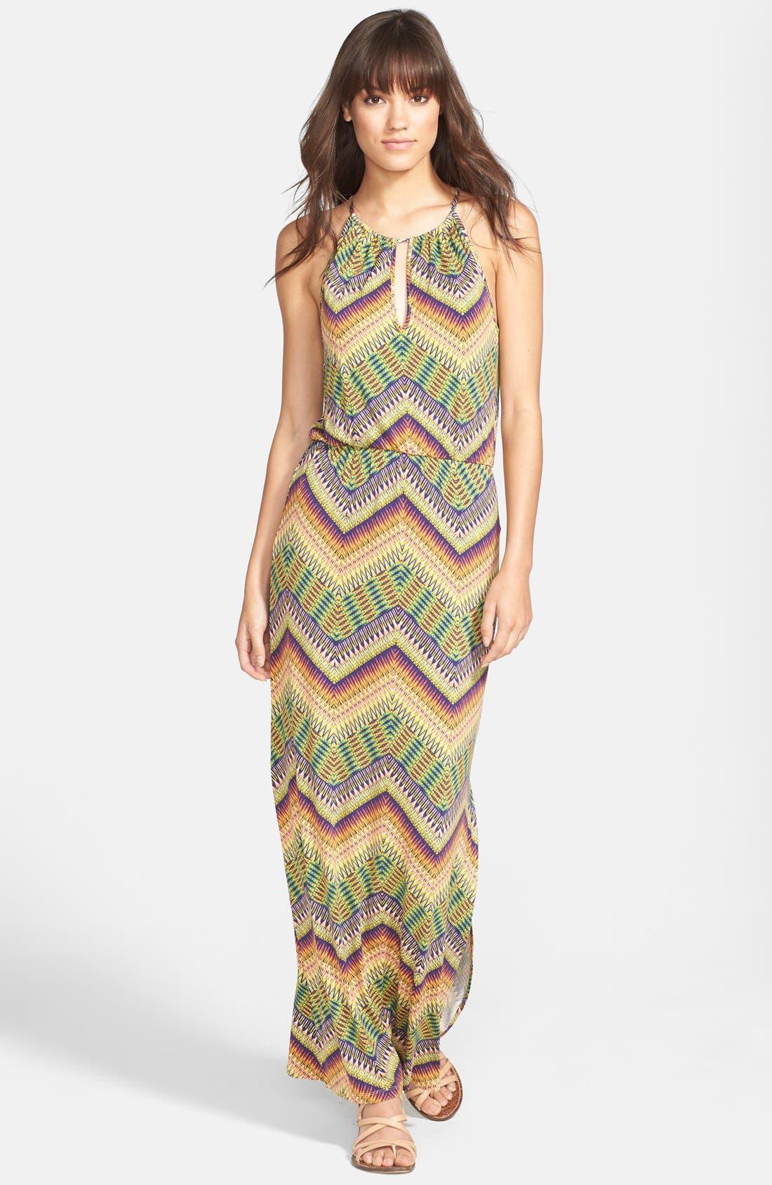 Main Image - Sanctuary 'Island' Chevron Print Cutout Maxi Dress