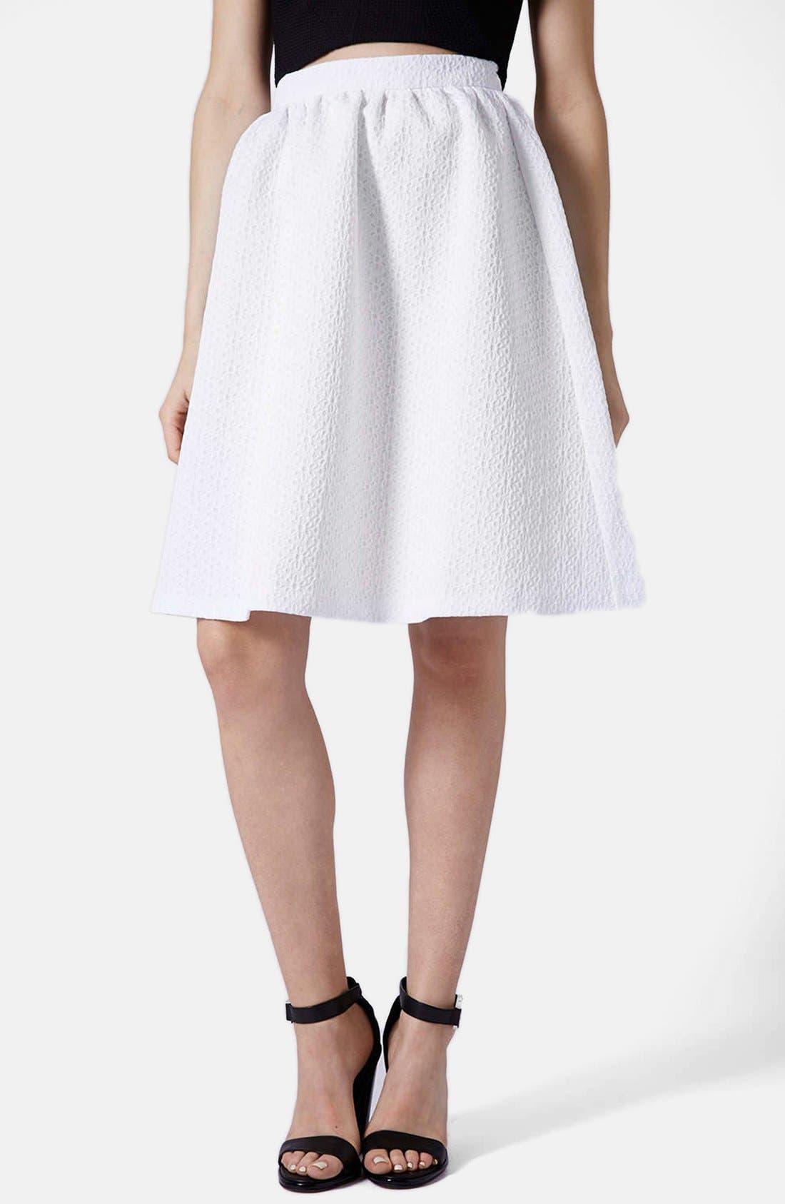 Alternate Image 1 Selected - Topshop Daisy Jacquard Flare Skirt