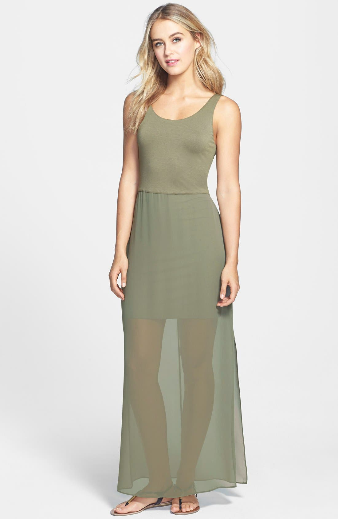 Alternate Image 1 Selected - Two by Vince Camuto Chiffon Overlay Maxi Dress