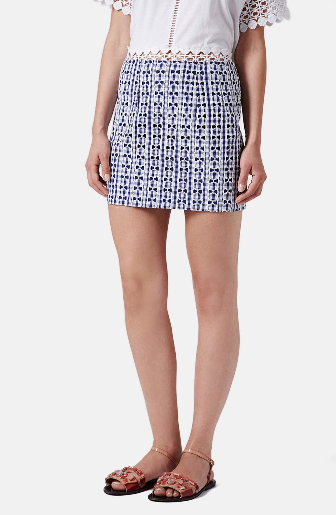 Main Image - Topshop Lace Gingham Pelmet Skirt (Regular & Petite)