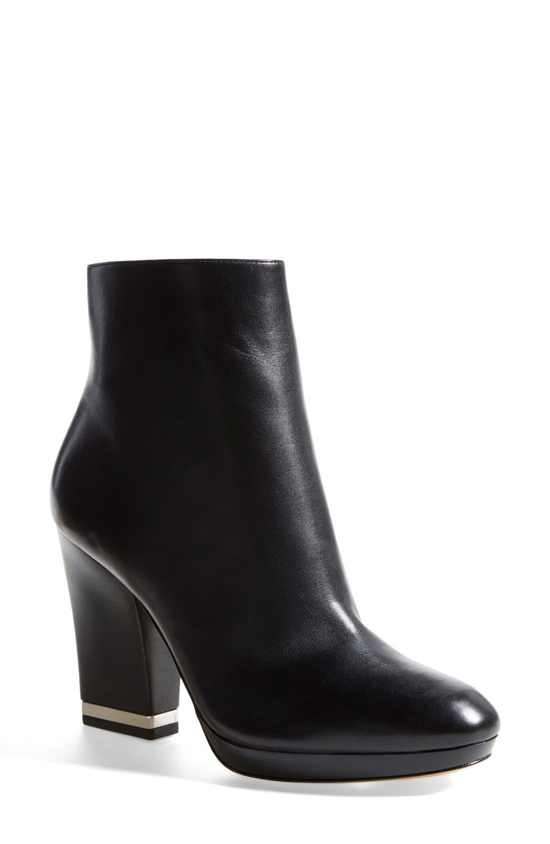 Alternate Image 1 Selected - Michael Kors 'Catherine' Calfskin Leather Almond Toe Bootie (Women)